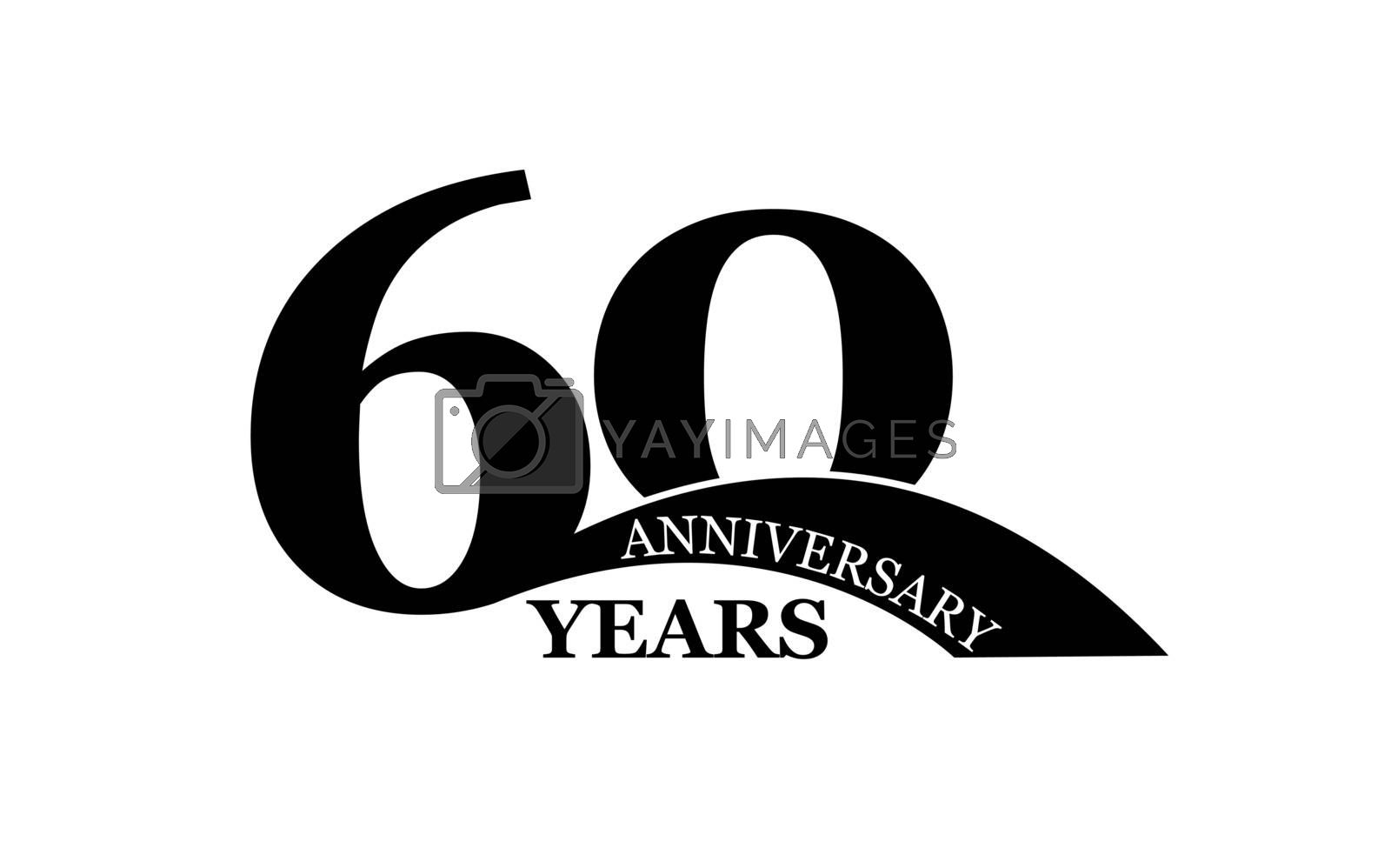 60 years anniversary, simple flat design, logo for design and decoration