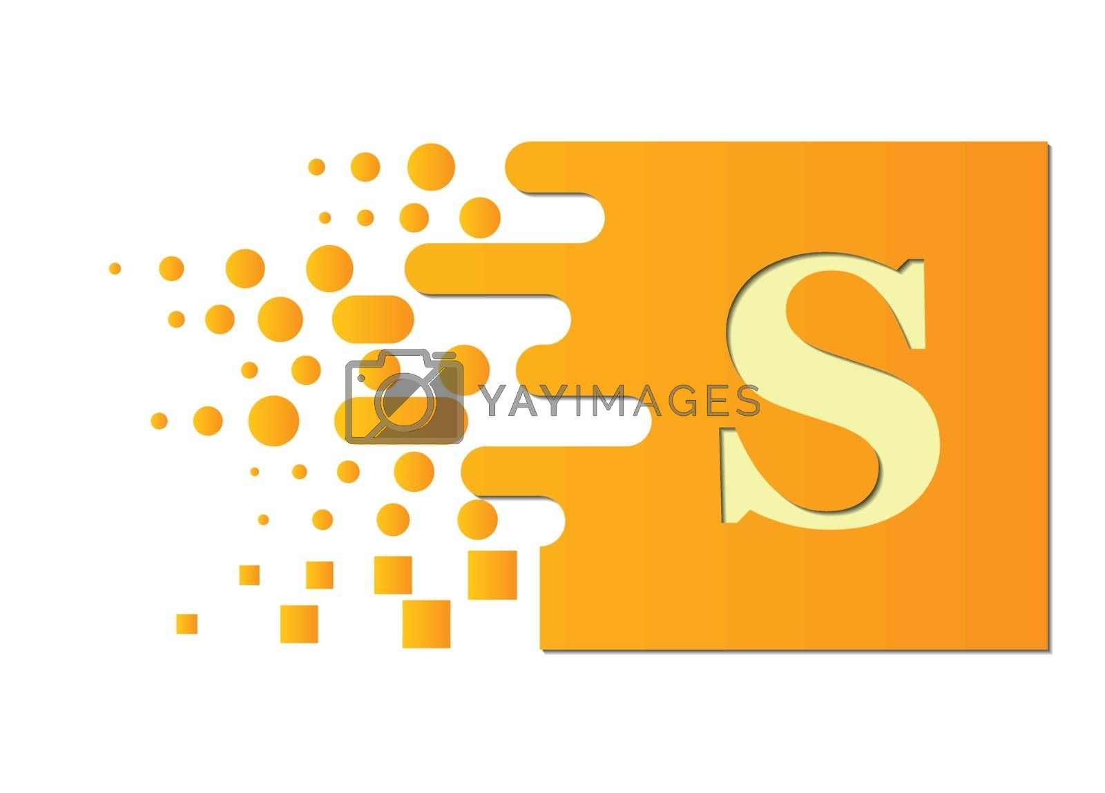 letter S on a colored square with destroyed blocks on a white background.