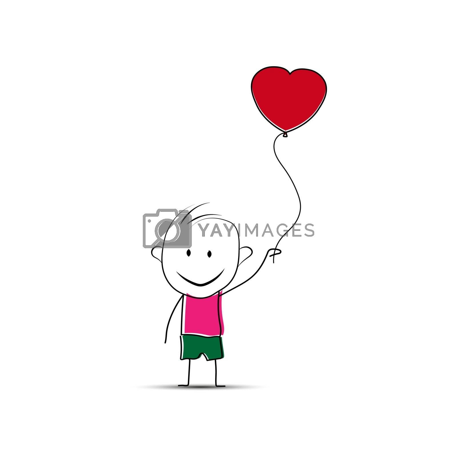 Cheerful man with a balloon in the form of a heart, simple design