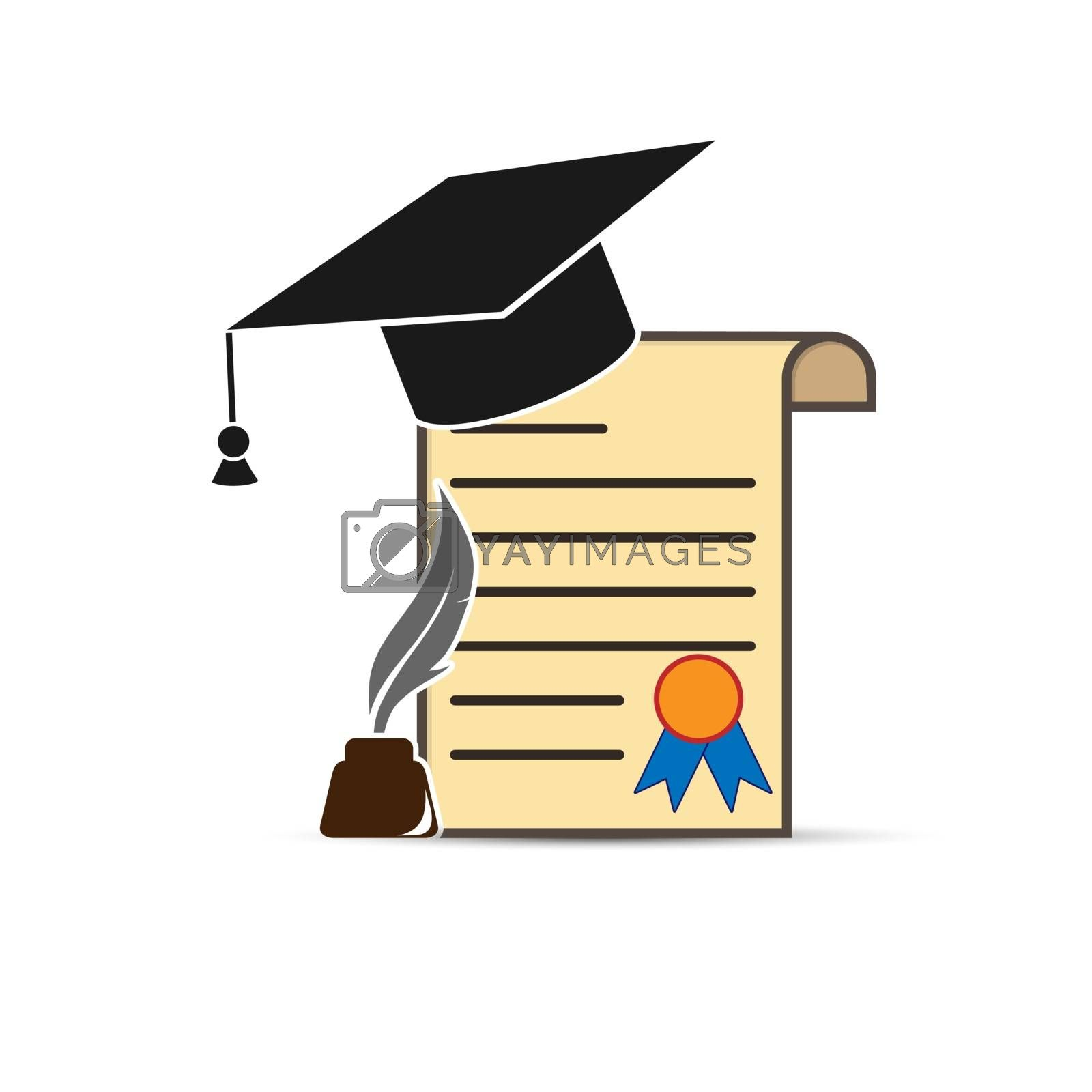 Diploma with graduate cap, with inkwell and pen, flat design