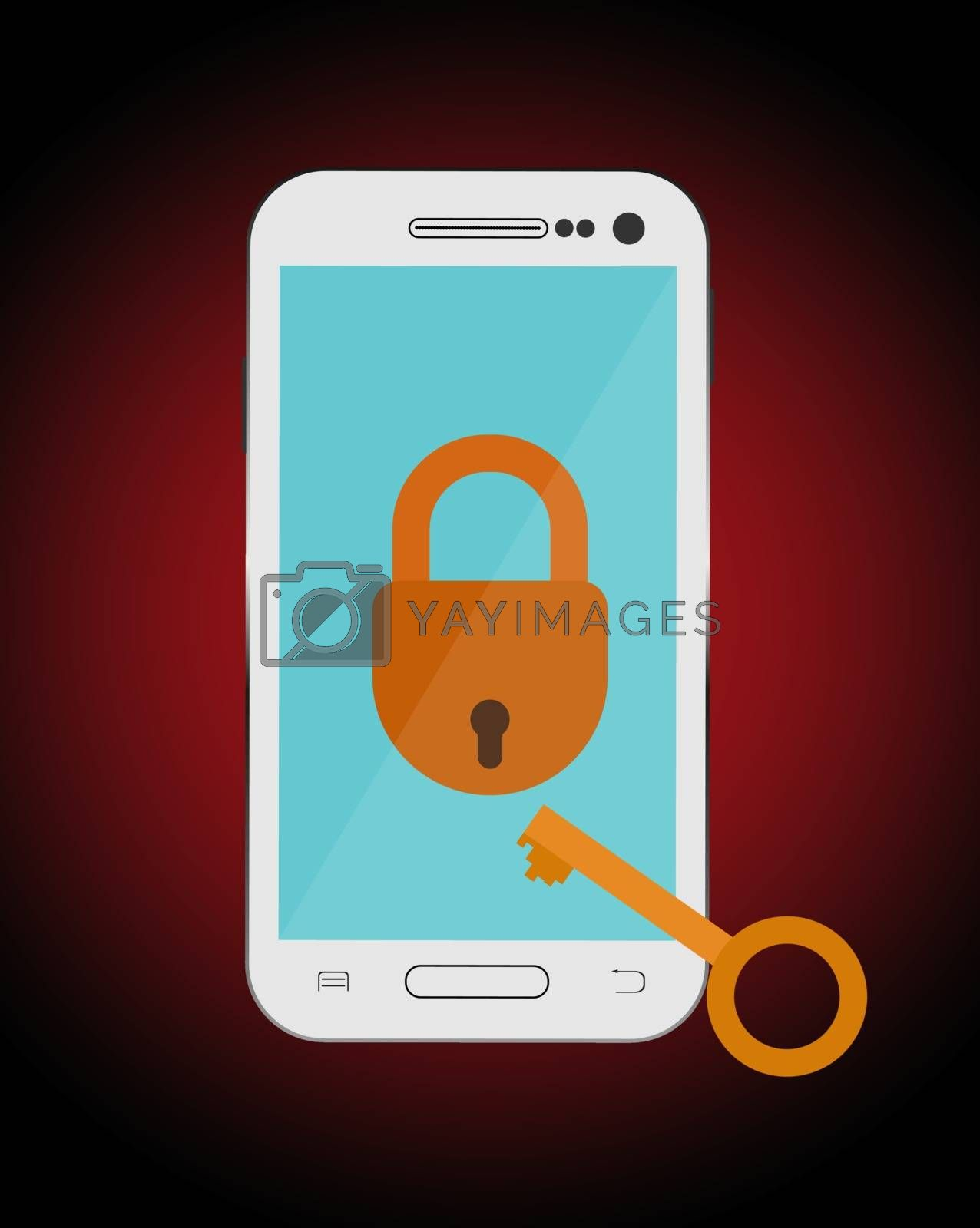 The smartphone is locked, and the key to unlock