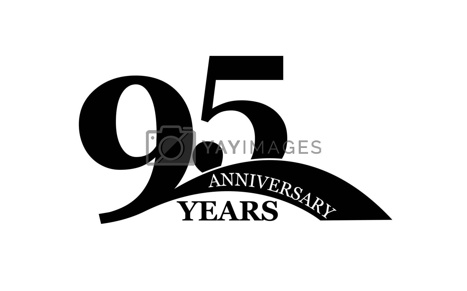 95 years anniversary, flat simple design, logo