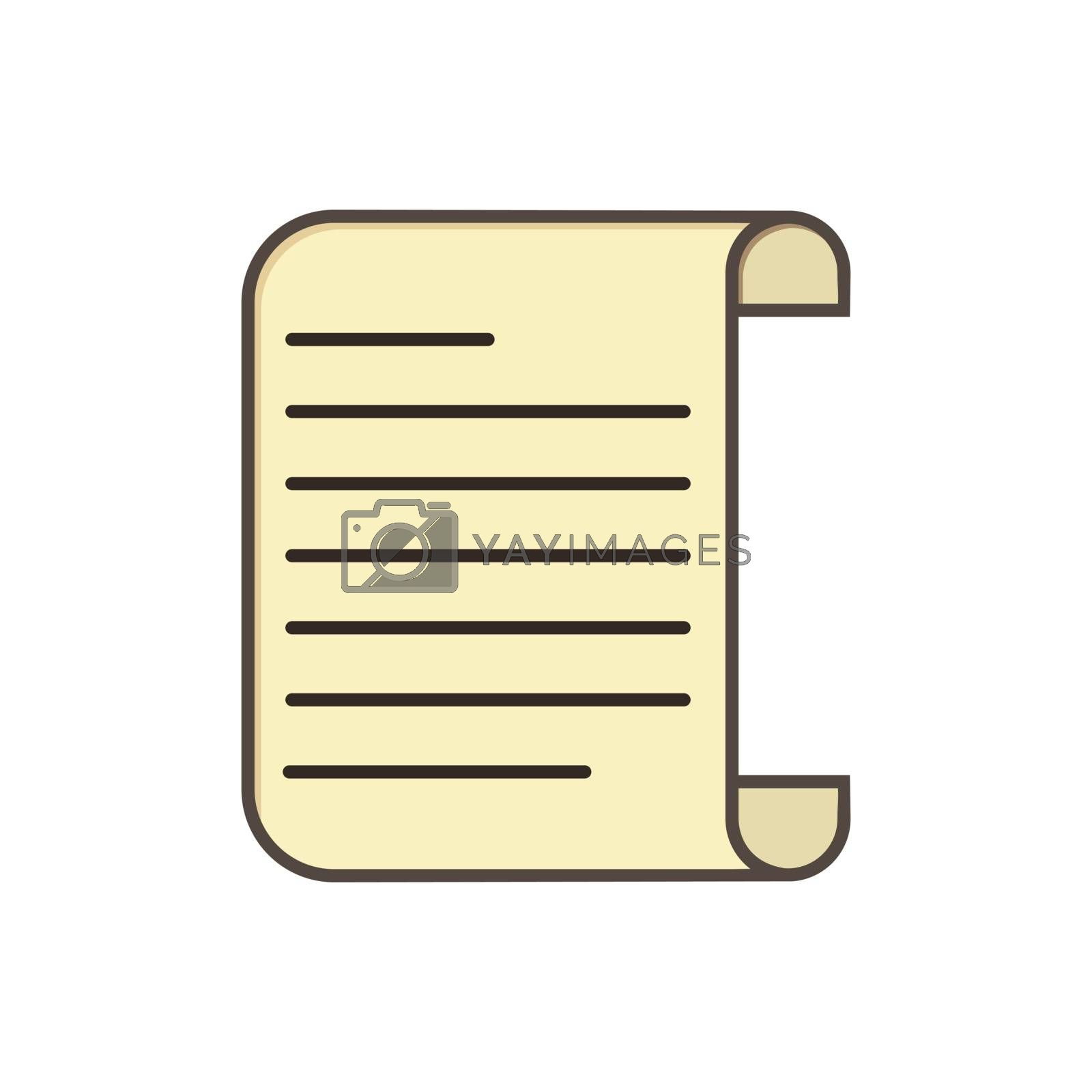 Simple paper scroll icon, simple flat design