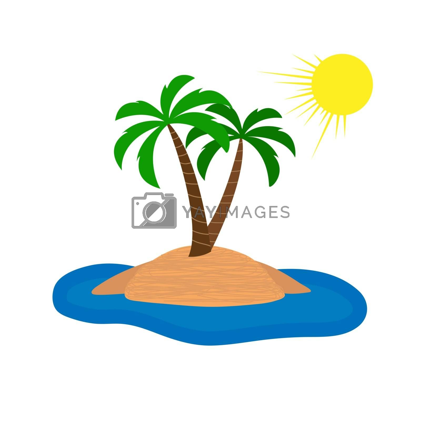 Island in the sea and two palm trees under the sun, simple design