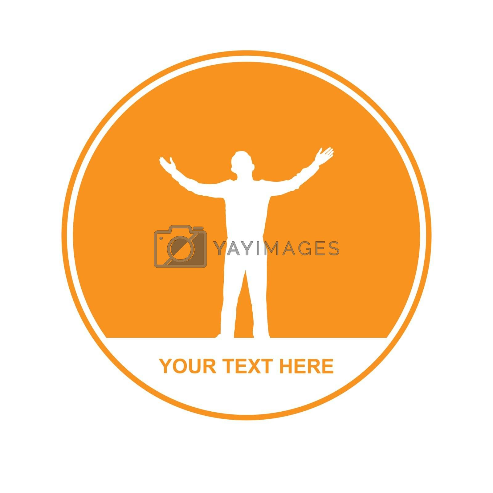 logo of a man with his hands up, simple design