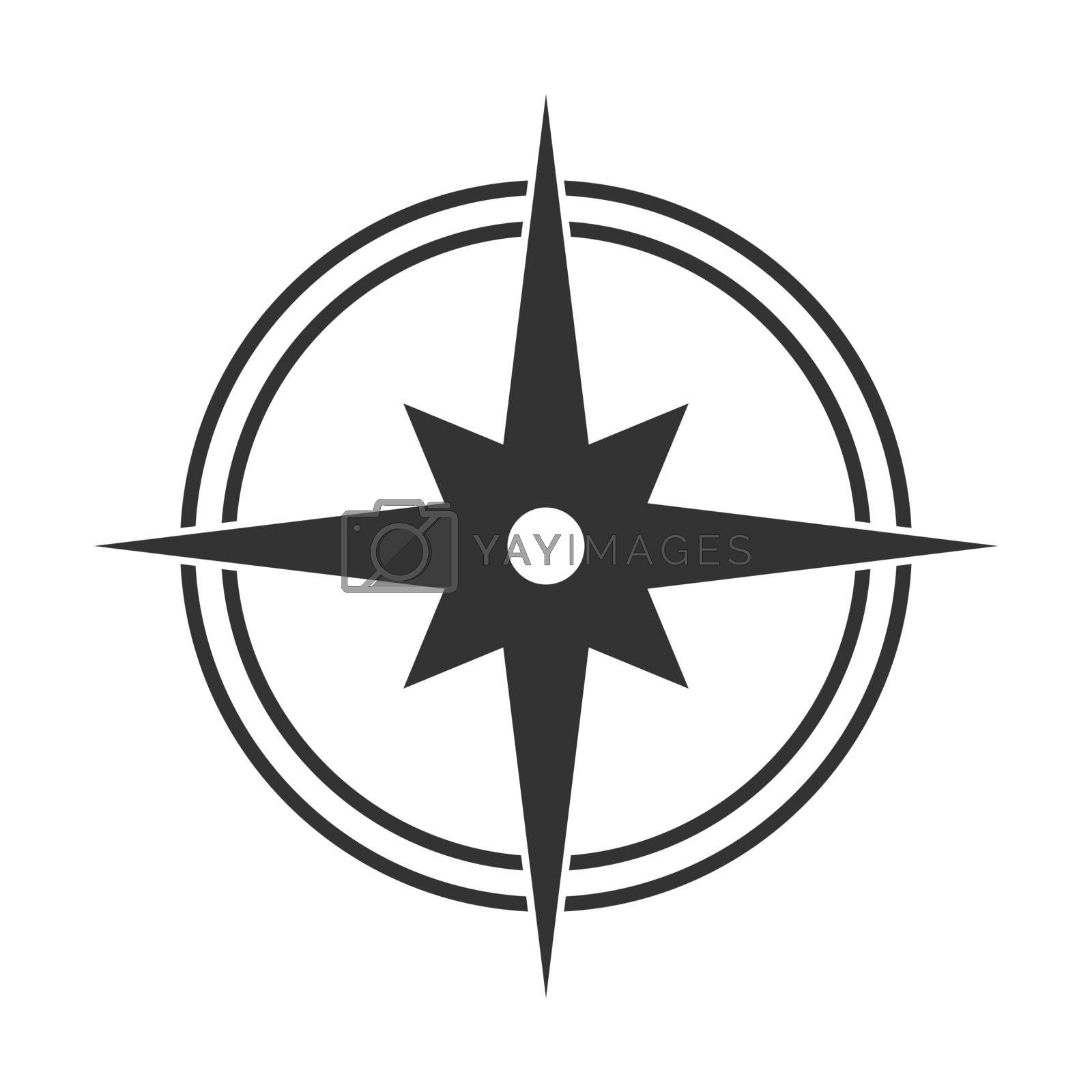Simple flat icon of a compass, cardinal directions and orienteering