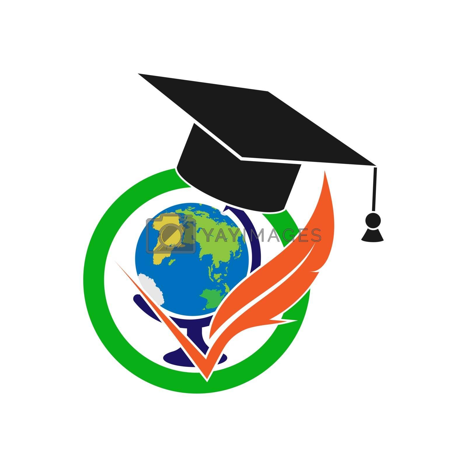 Logo with graduate cap and globe, simple design