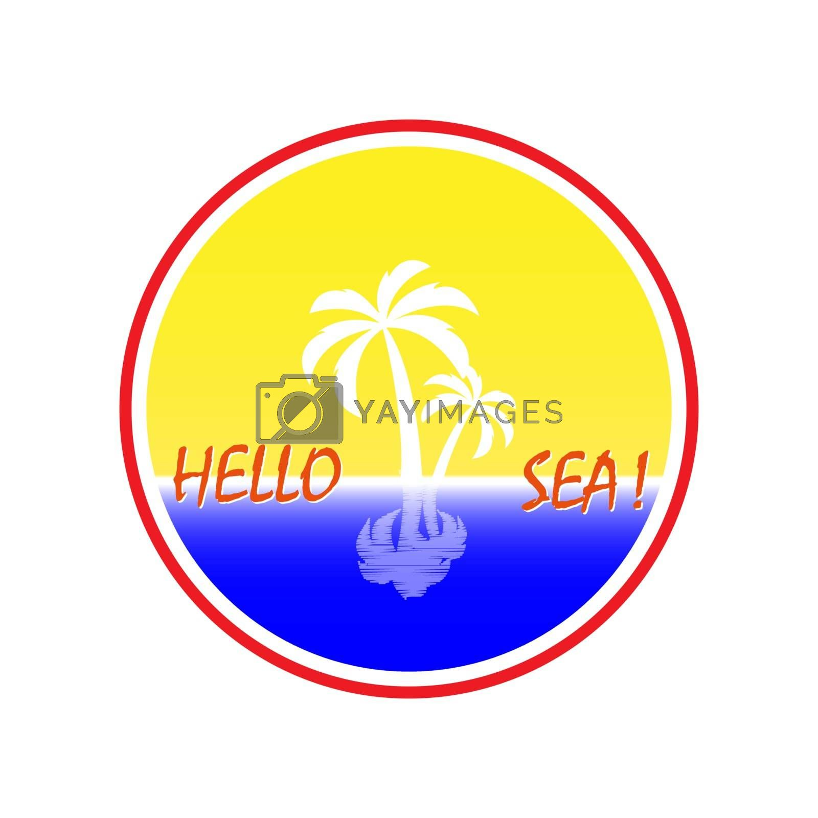 Simple logo with a palm tree and the inscription Hello Sea