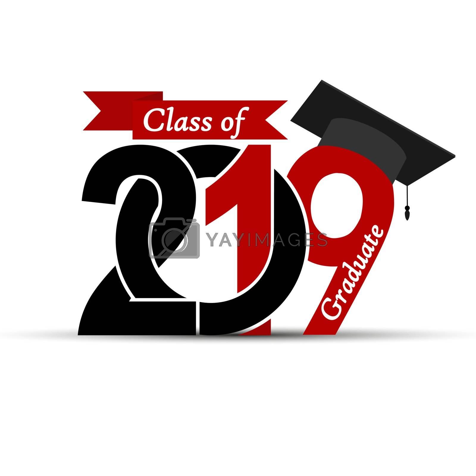 Class and graduate 2019 with a graduate cap.