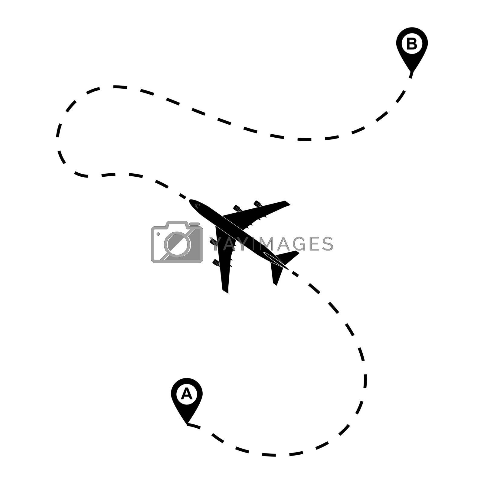 route of the aircraft from point a to point B. the silhouette of the plane and the dotted line of the route a simple design.