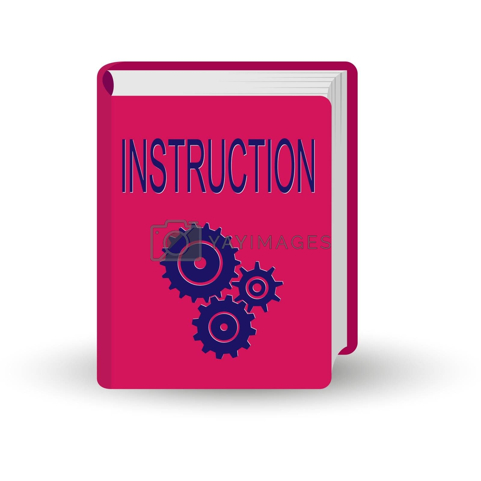 book with the word INSTRUCTION. 3D volume simulation.