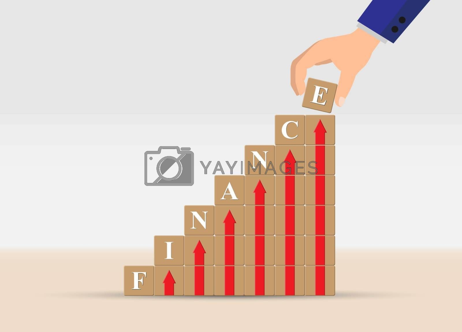 concept of financial growth or financial success, business.  Hand is a ladder of cubes with up arrows and letters of the word FINANCE.