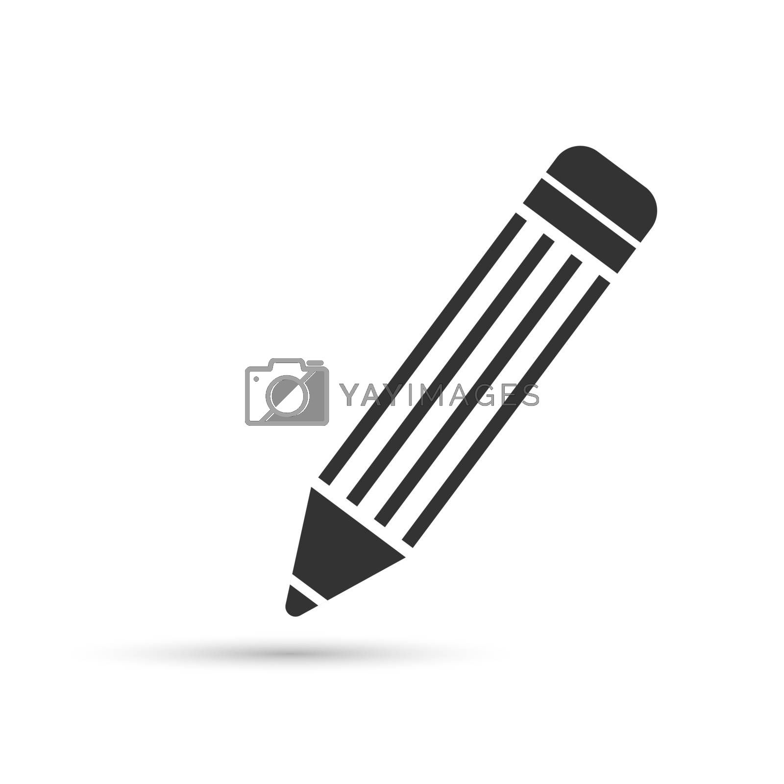 Pencil icon with eraser, flat simple design.