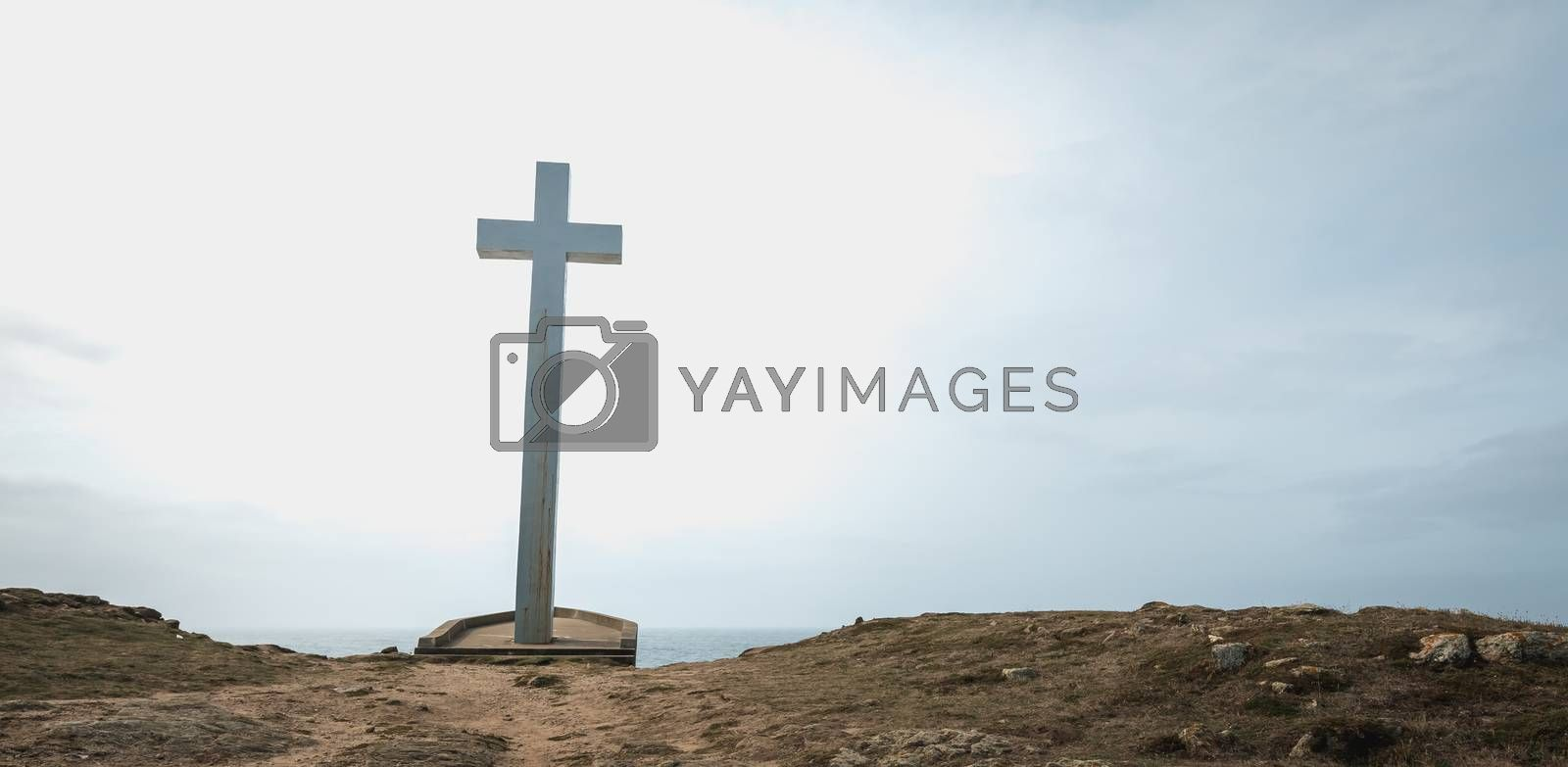 detail view on the Calvary of the sailors of the Pointe du Chatelet built in 1934 on the island of Yeu, France