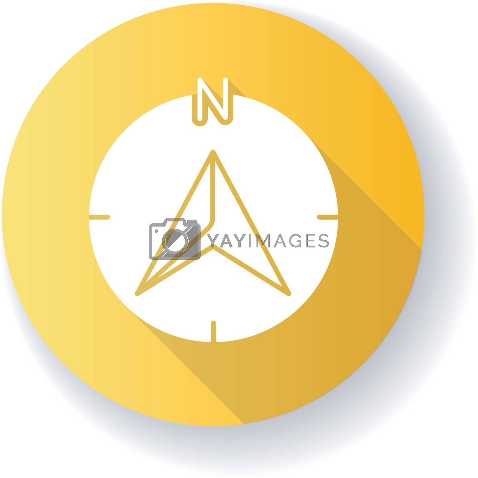 Navigator arrow yellow flat design long shadow glyph icon. Modern navigation technology, global positioning system, geolocation. GPS guide cursor pointing to north Silhouette RGB color illustration