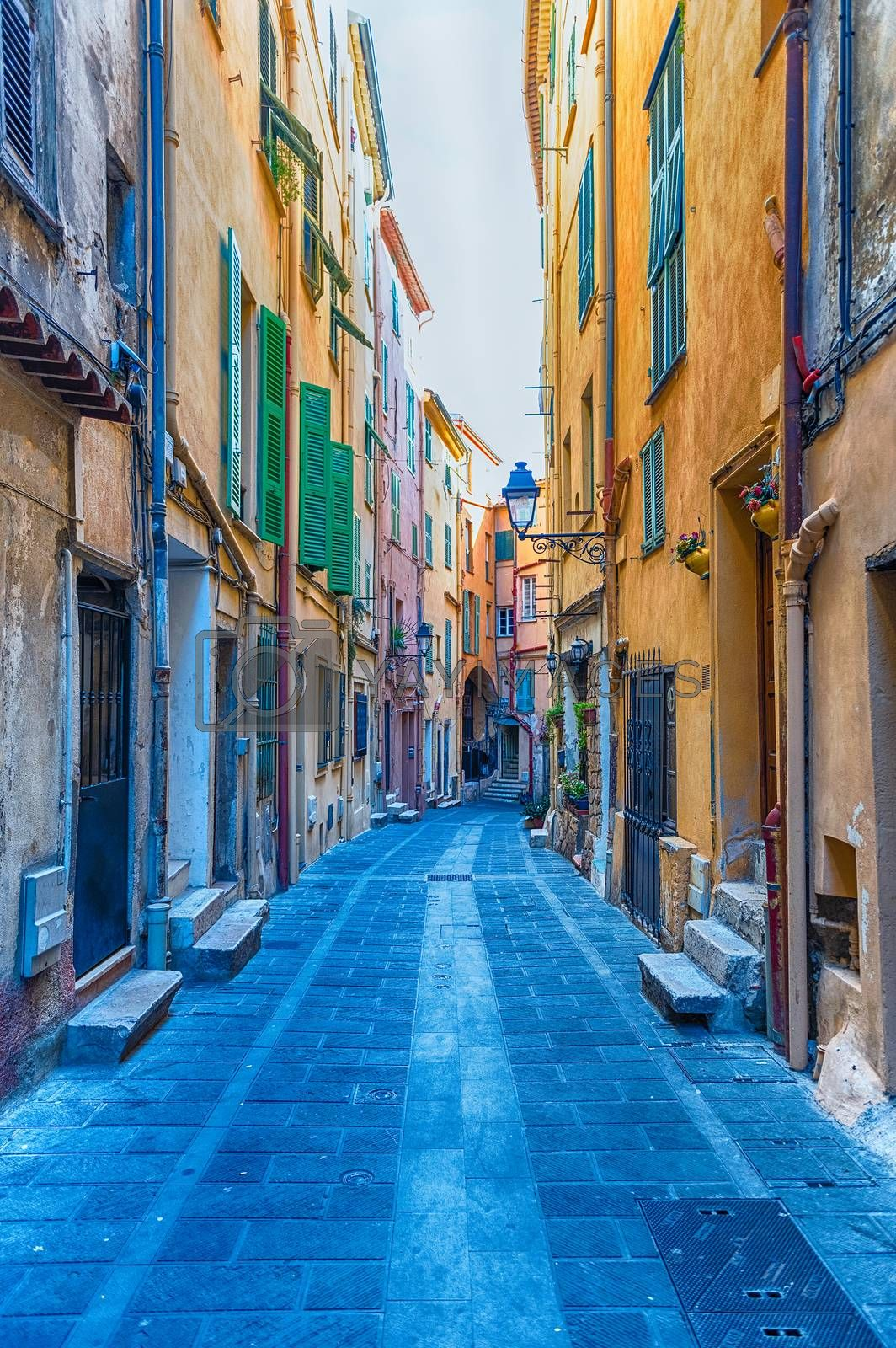 Picturesque streets in the centre of Menton, picturesque city in the Provence-Alpes-Côte d'Azur region on the French Riviera, close to the Italian border