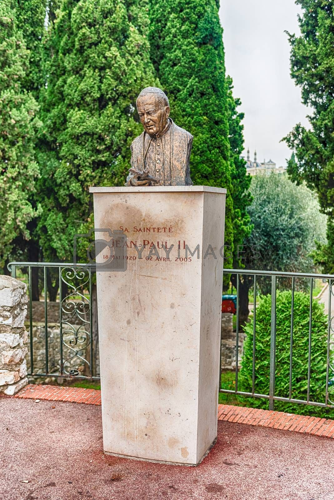 Bronze bust of Pope John Paul II, located in the Cimiez neighborhood in Nice, Cote d'Azur, France