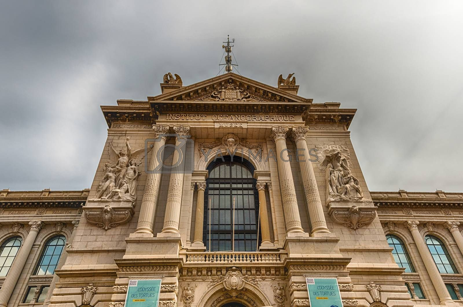 Facade of the Oceanographic Museum of Monaco, iconic landmark in Monaco City, aka Le Rocher or The Rock