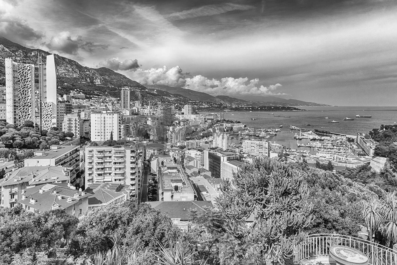 View over Port Hercules in La Condamine district, city centre and harbour of Monte Carlo, Cote d'Azur, Principality of Monaco, iconic landmark of the French Riviera