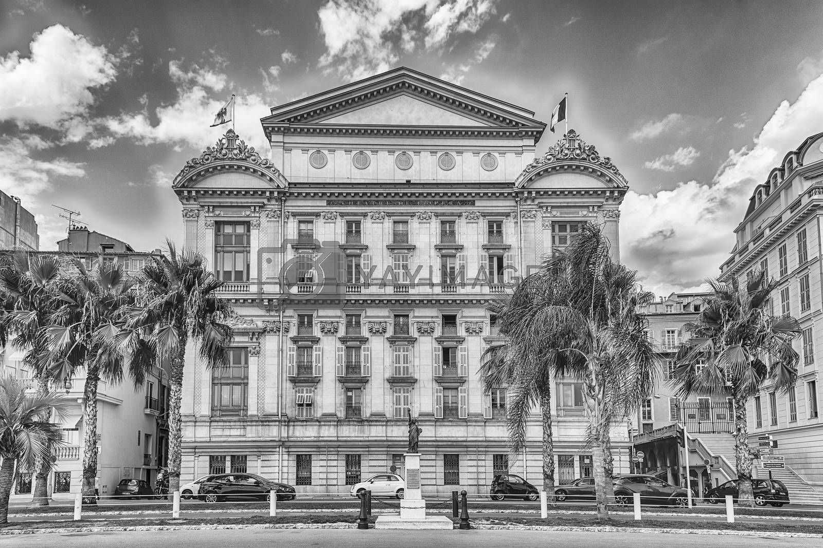 Southern facade of the Opera House, iconic theatre and major landmark on the Promenade des Anglais, Nice, Cote d'Azur, France
