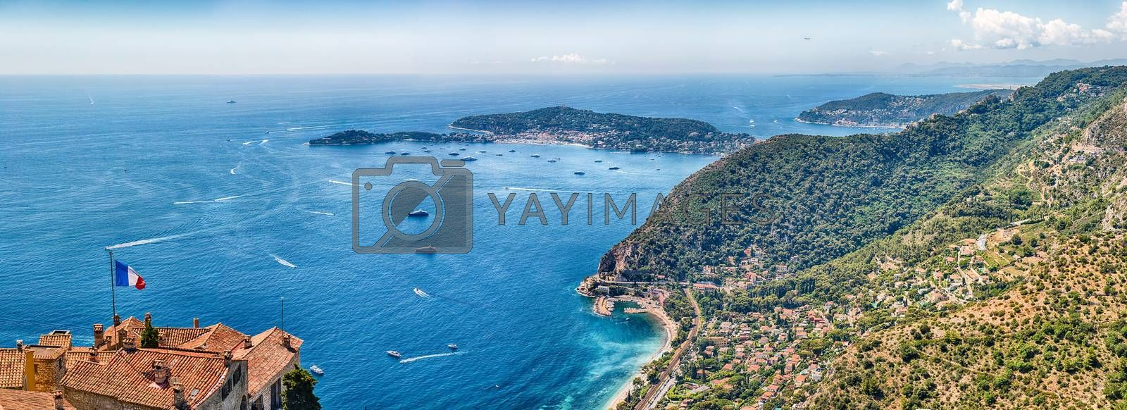 Scenic aerial view from the town of Èze over the beautiful coastline near the city of Nice, Cote d'Azur, France. It is one of the most renowned tourist site of the French Riviera
