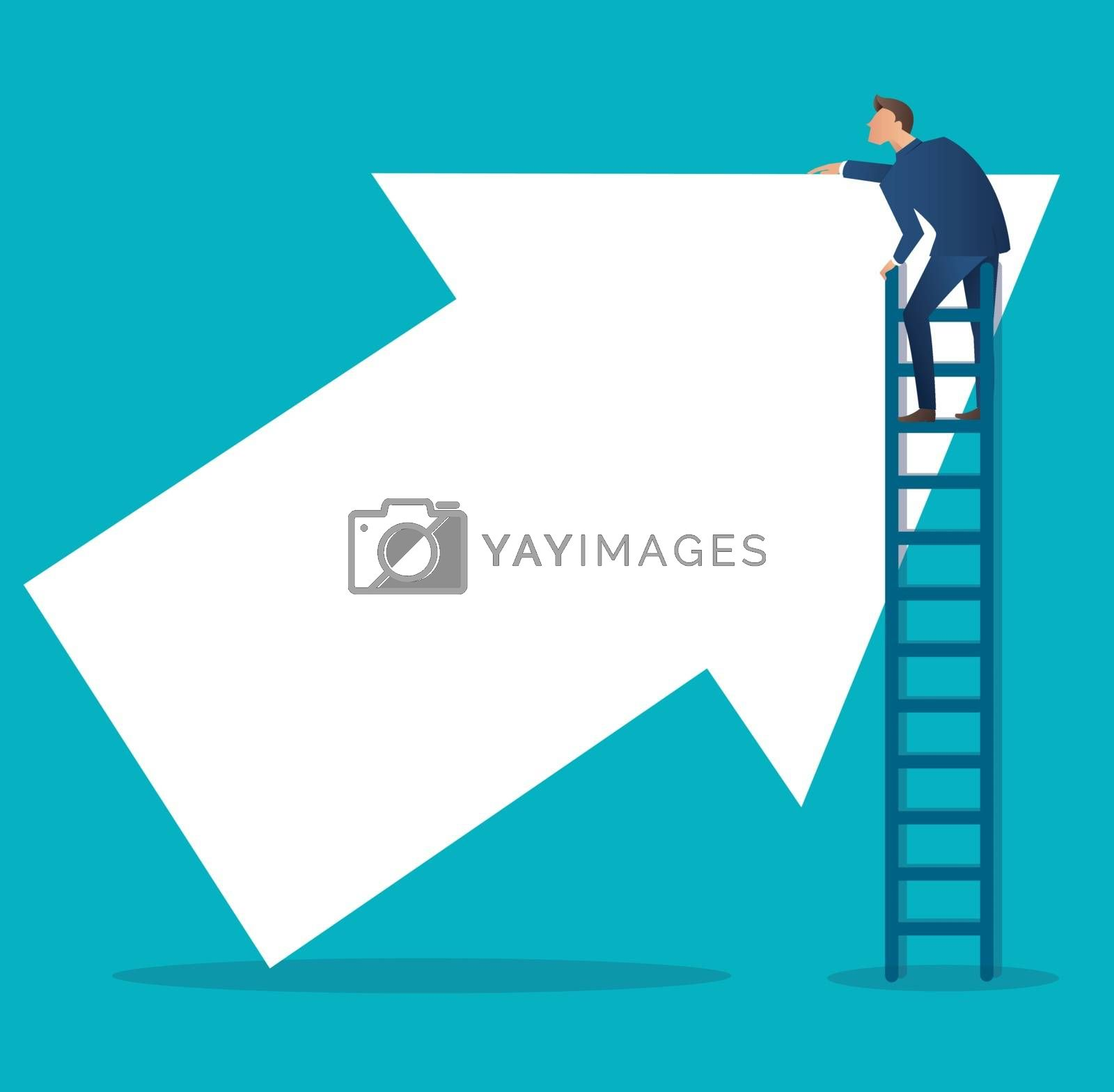 Business concept vector illustration of a man on ladder  with up arrow