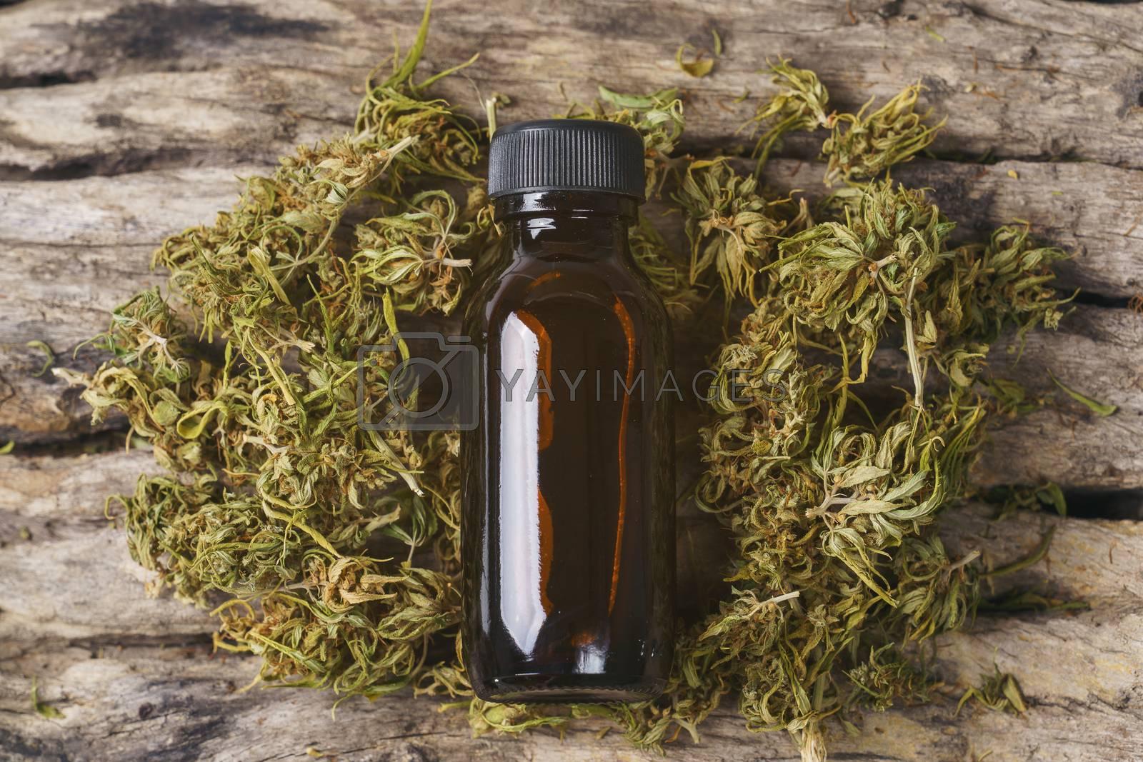 dried cannabis medical marijuana with CBD and THC extract