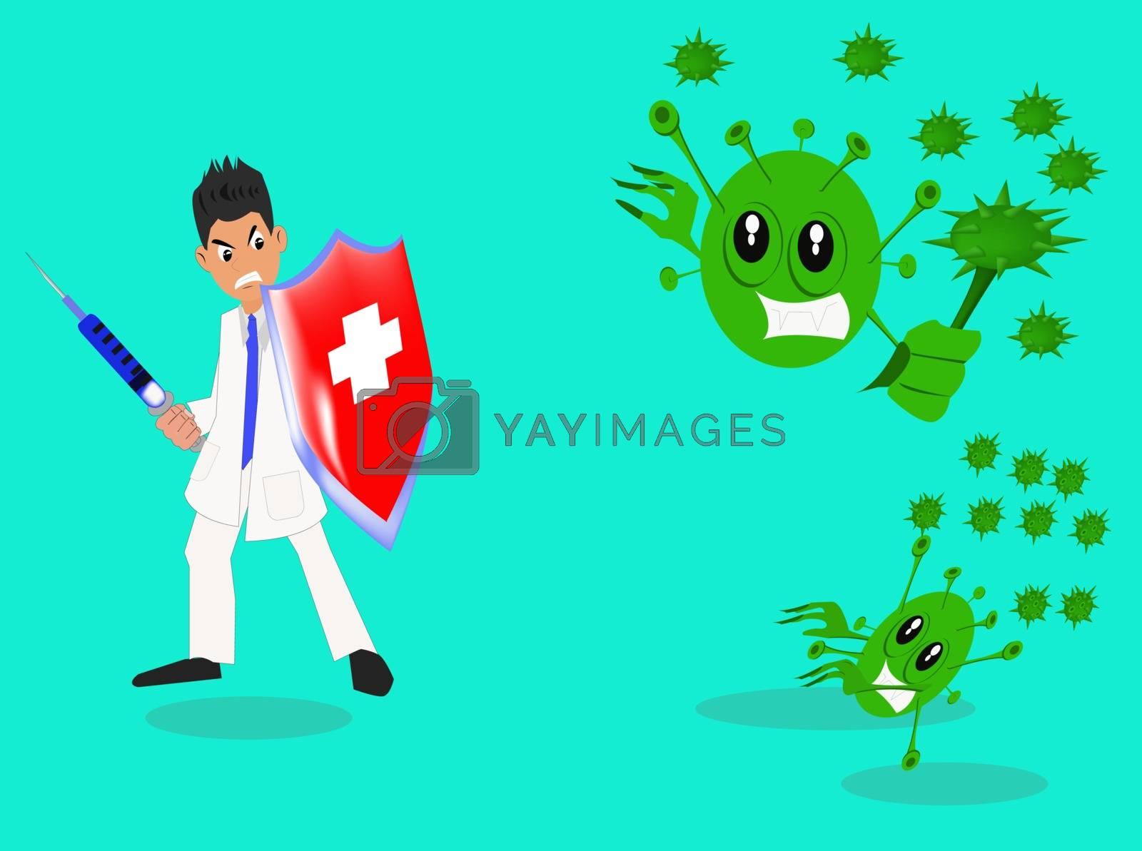 doctor against corona virus, Vector illustration of corona covid-19 virus. cure corona virus. the concept of the corona virus vaccine