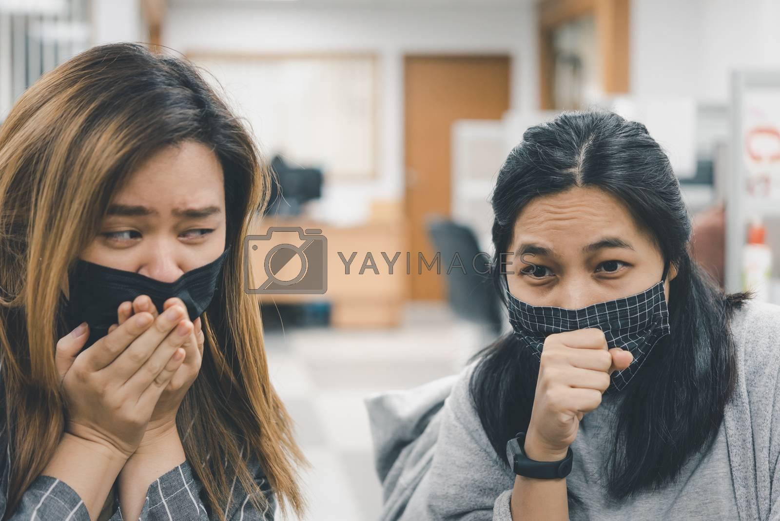 Women wearing mask protection epidemic flu covid19 by PongMoji