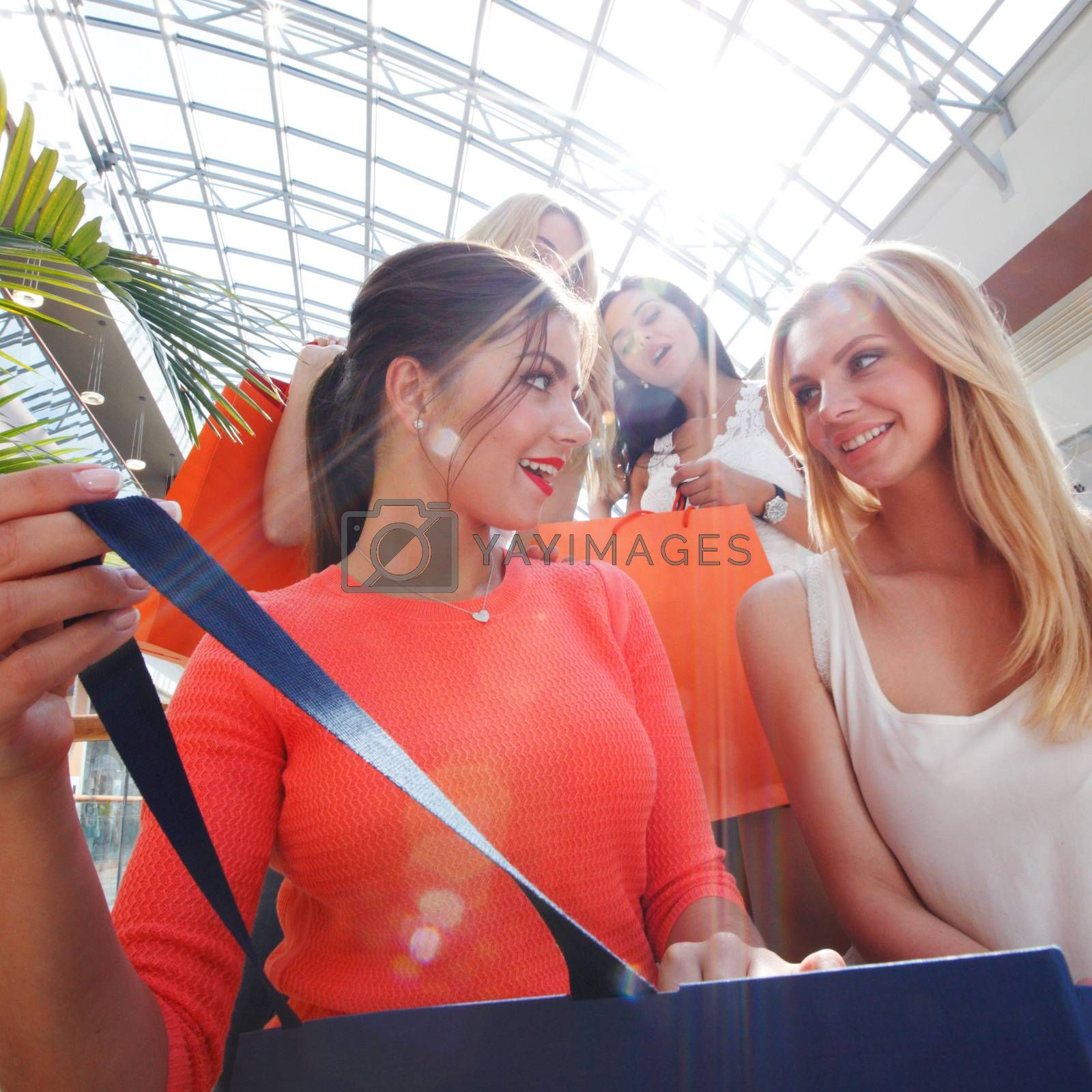 Excited female friends looking inside shopping bag sale concept