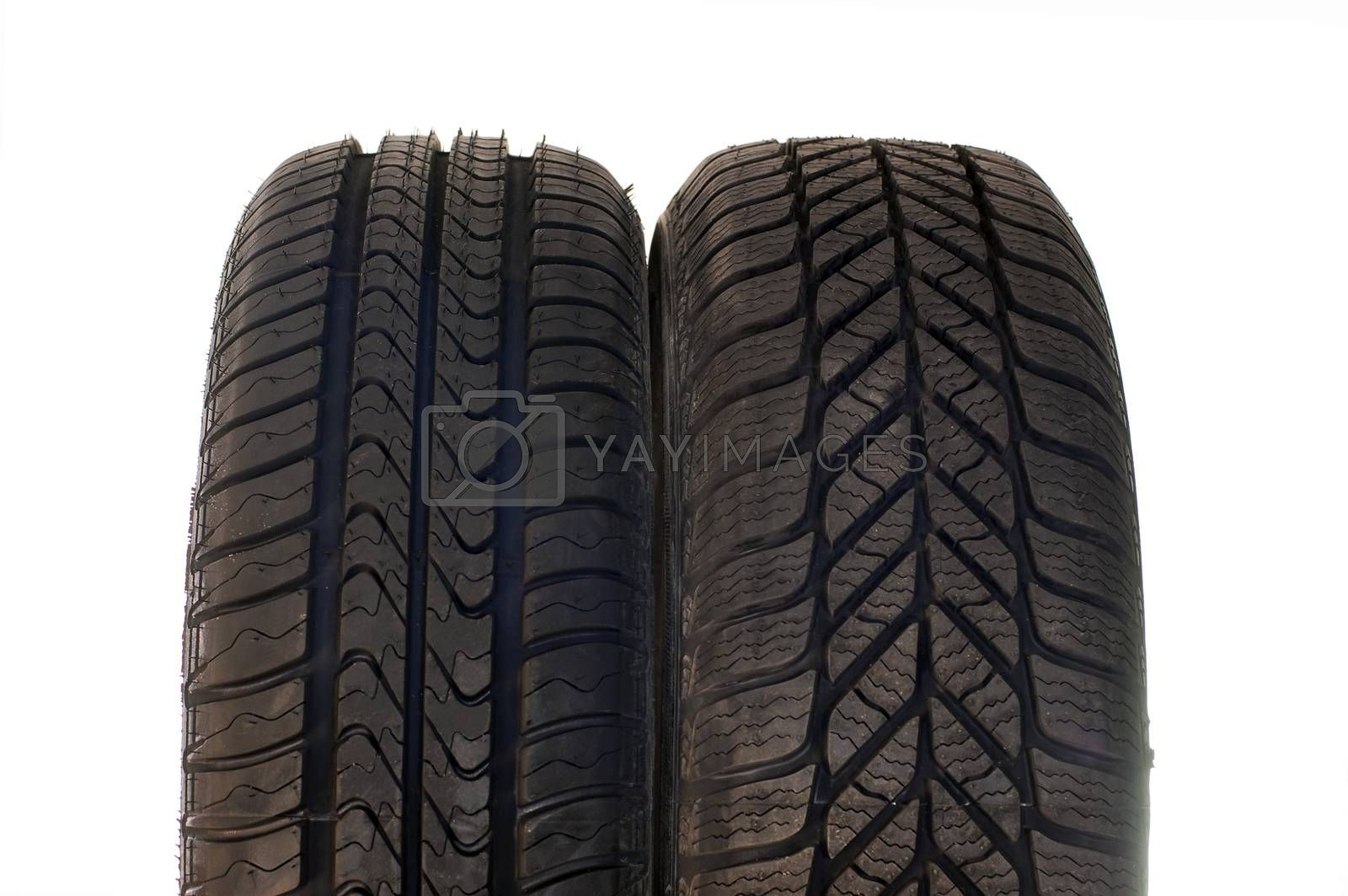 Brand new modern summer and winter car tires