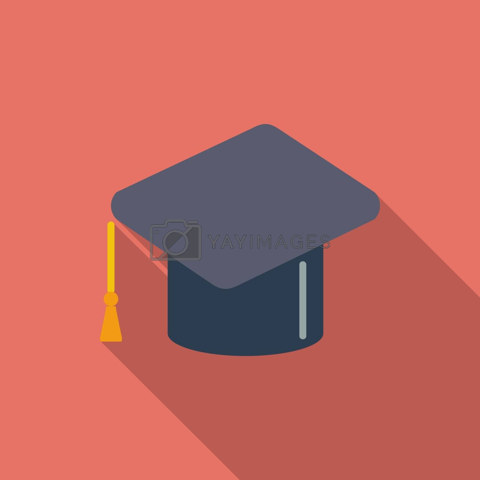 Education icon. Flat vector related icon with long shadow for web and mobile applications. It can be used as - logo, pictogram, icon, infographic element. Vector Illustration.v