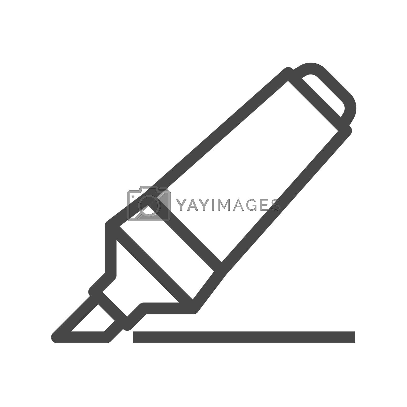 Marker Pen Thin Line Vector Icon. Flat icon isolated on the white background. Editable EPS file. Vector illustration.