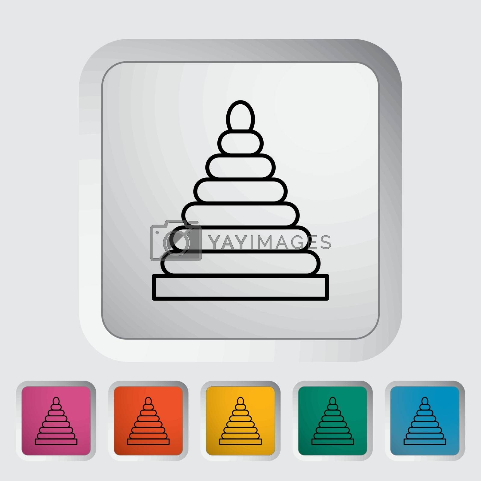 Pyramid toy thin line flat vector related icon set for web and mobile applications. It can be used as - pictogram, icon, infographic element. Vector Illustration.
