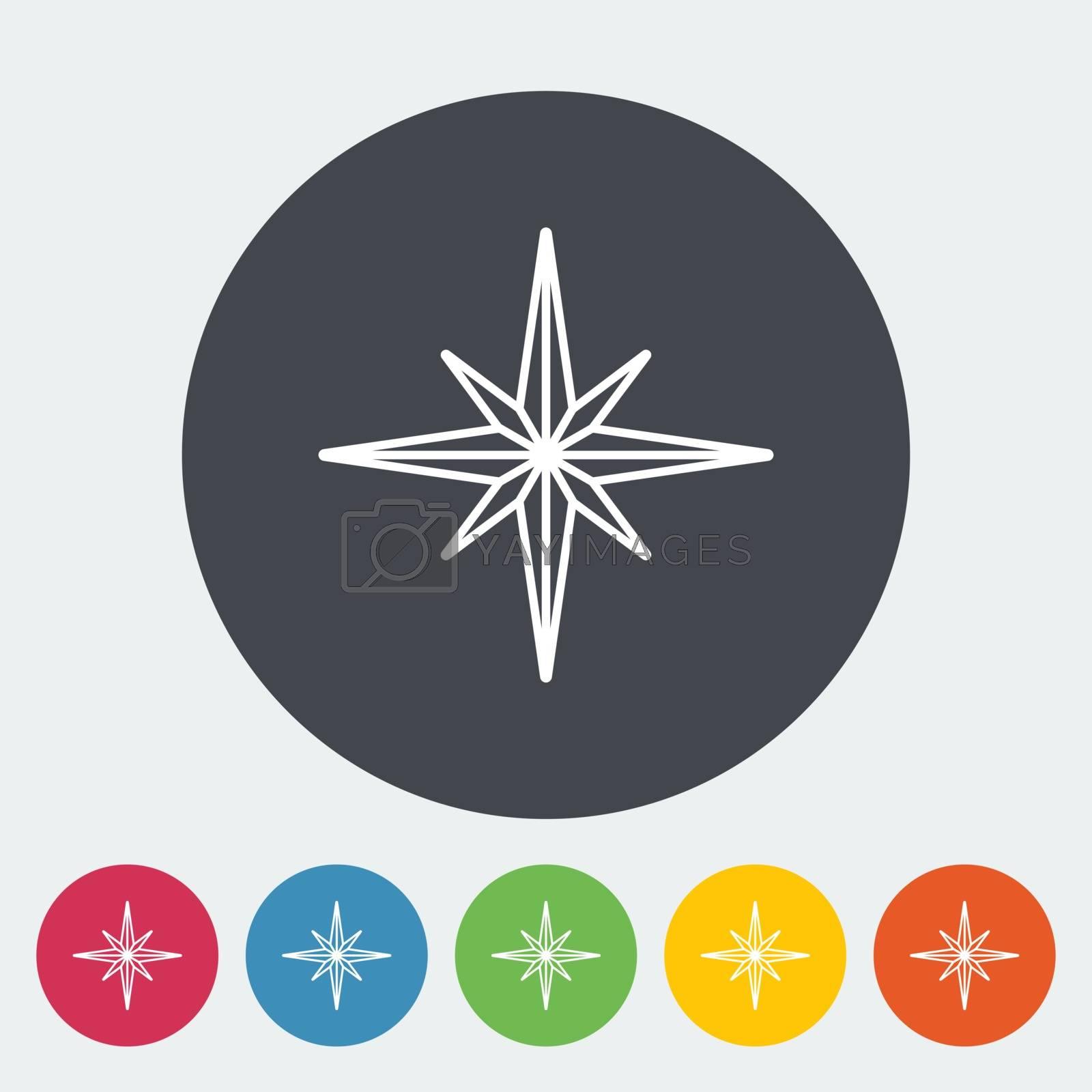 Wind rose. Single flat icon on the circle. Vector illustration.