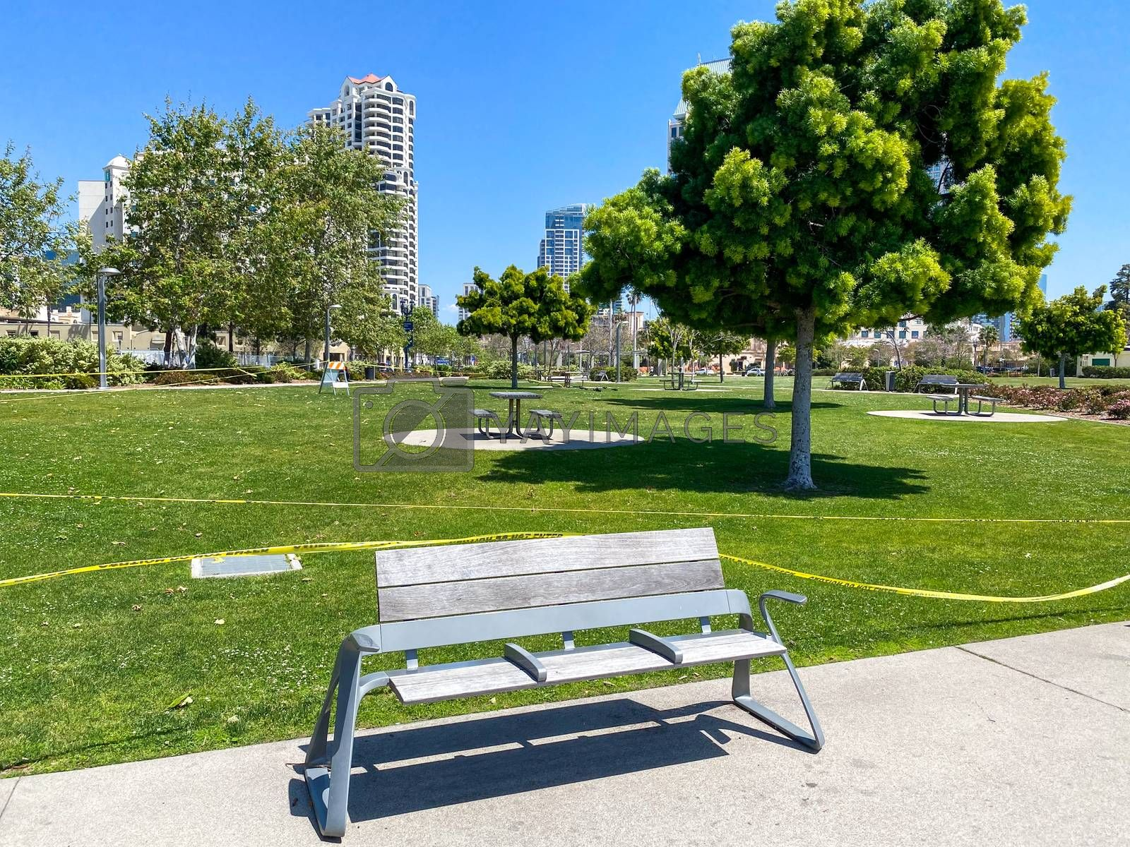 Empty and closed park during COVID-19 pandemic. . Coronavirus virus panic and quarantine San Diego, USA, April 18th, 2020