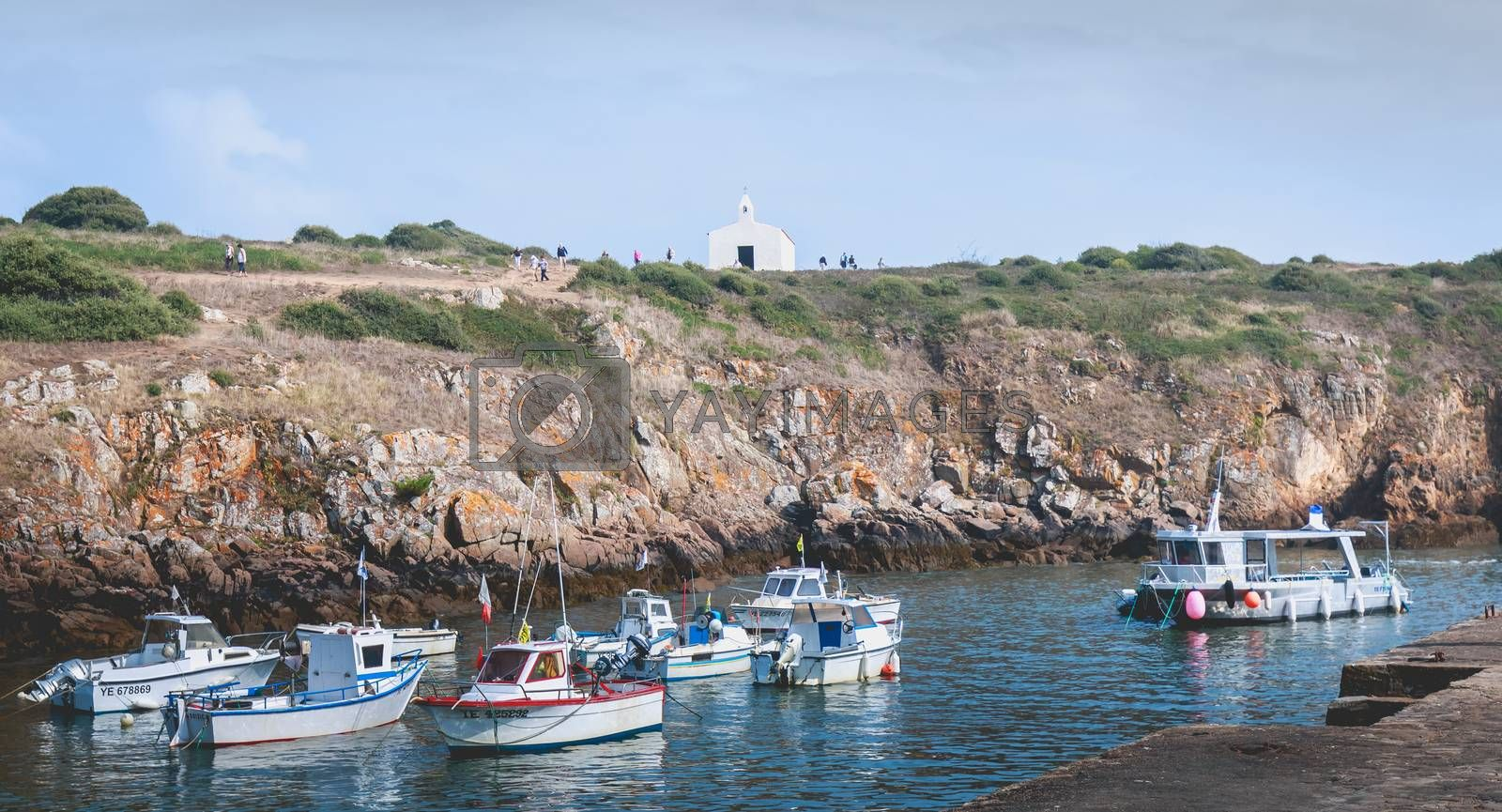 La Meule, France - September 18, 2018: view of the marina of Port la Meule on the island of Yeu where are moored pleasure boats on a summer day