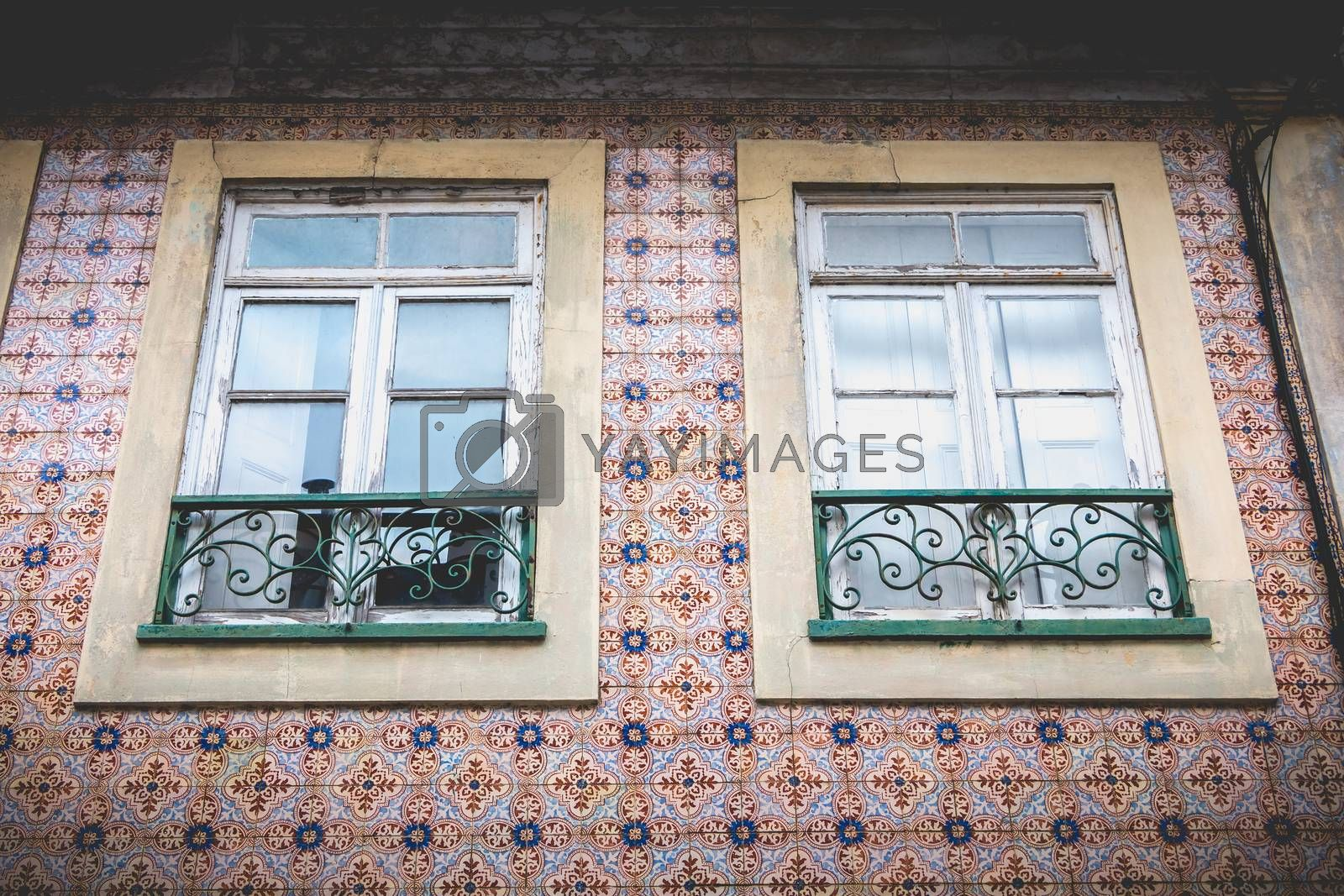 Aveiro, Portugal - May 7, 2018: Small traditional house architecture detail in the historic city center of the city on a spring day