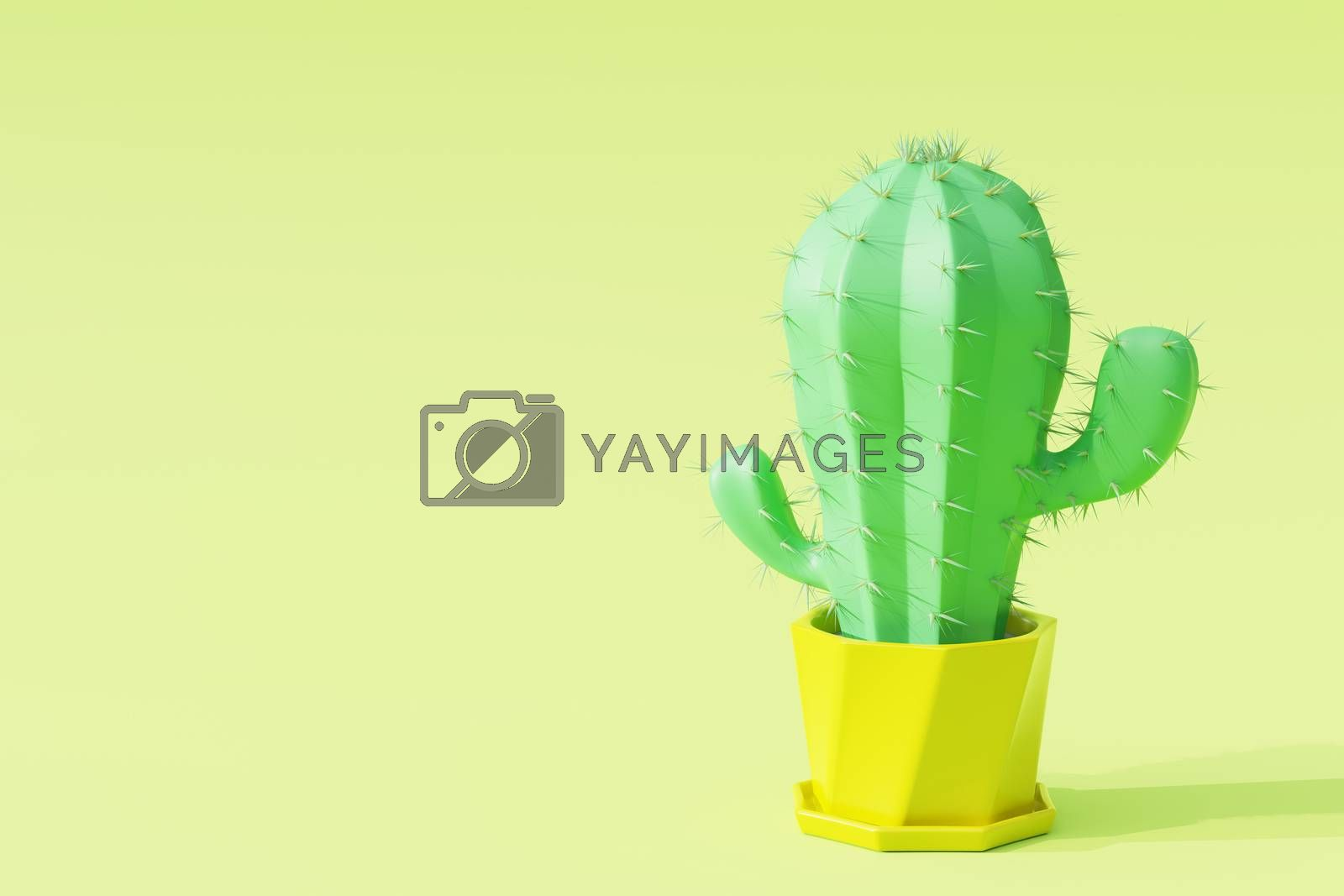Cactus in cartoon minimal style with light green background. It is a plant that lives in the western desert. Concept of lover cactus. Copy space for your article on the left. 3D illustration rendering