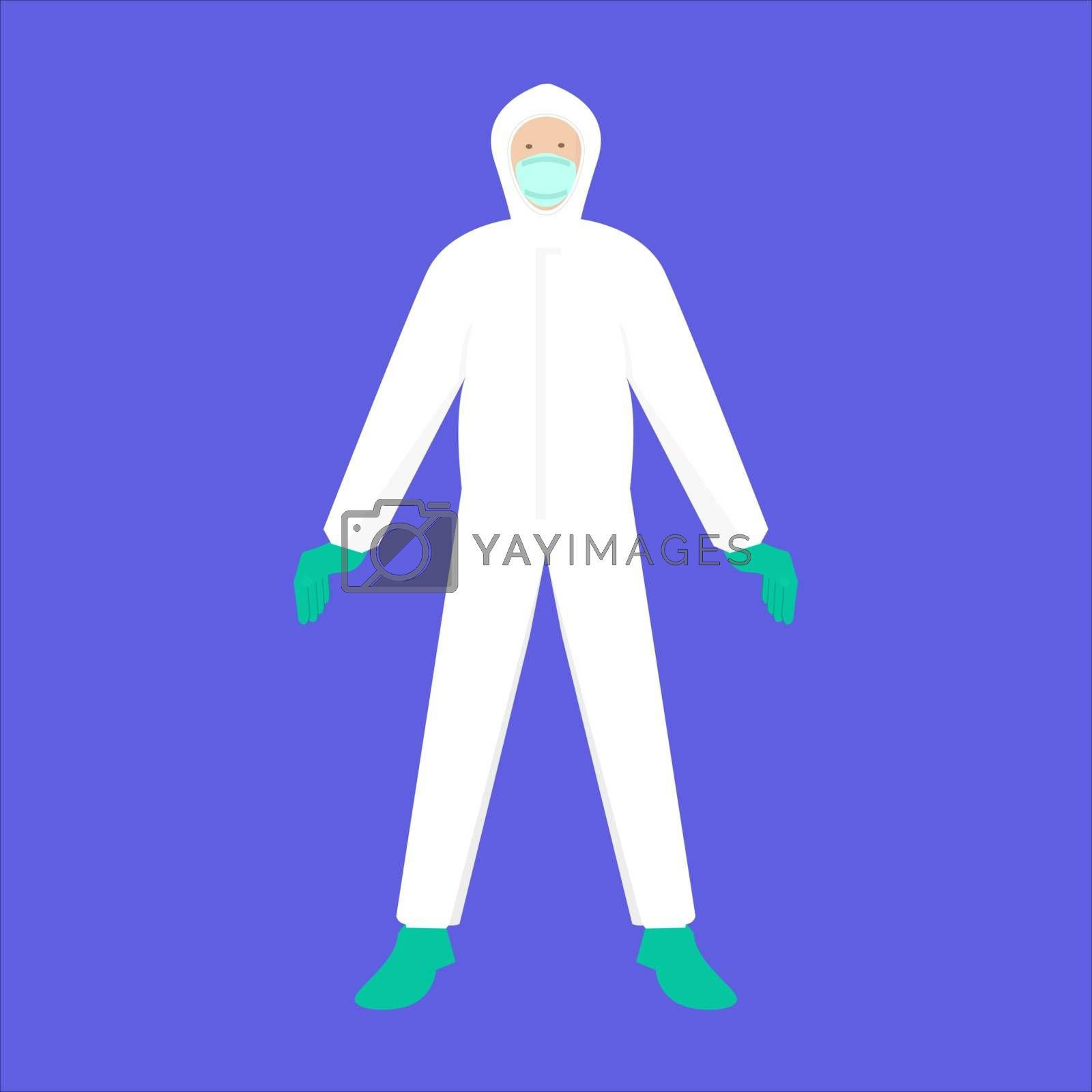 PPE or hazmat suits and protection masks to prevent epidemic MERS-CoV wuhan coronavirus 2019-nCoV pandemic medical health risk ,vector illustration