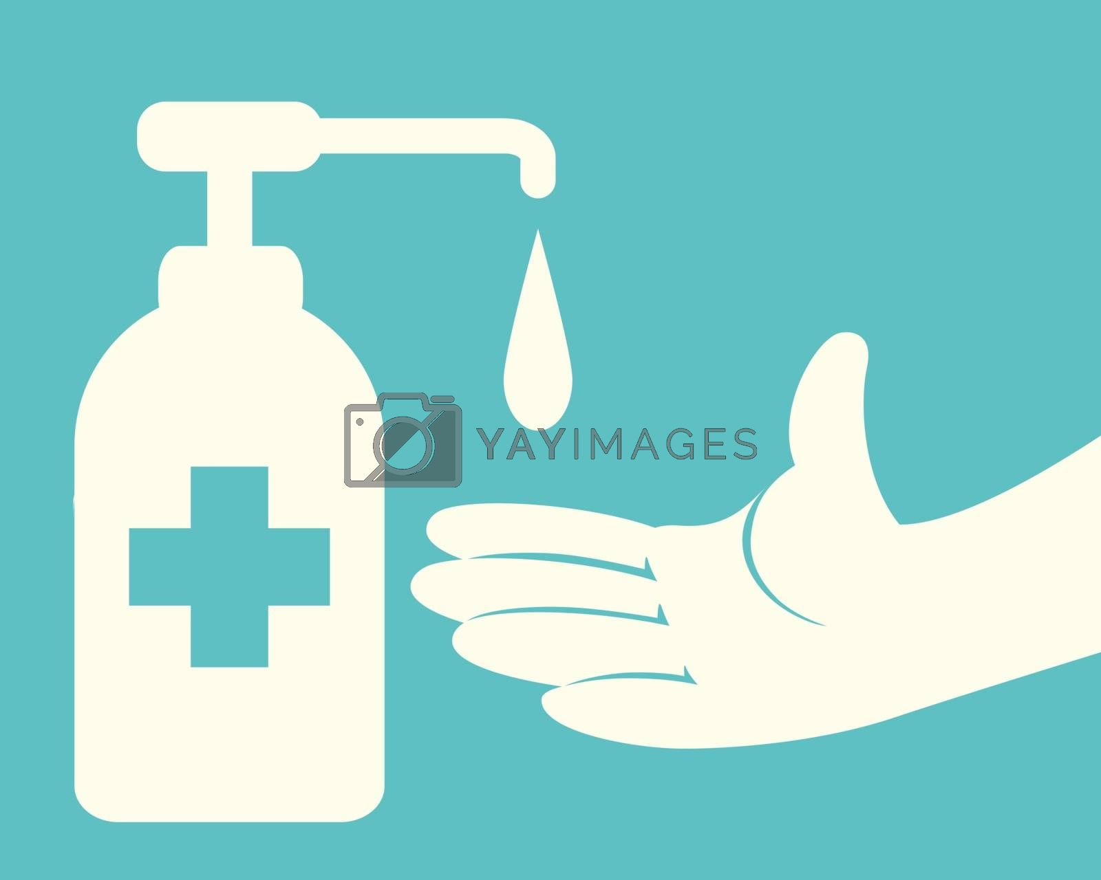 Hands using Liquid sanitizer gel hand wash from pumping bottle dispenser with a Cross symbol Isolated on green background.Vector illustration flat design.Disinfection concept