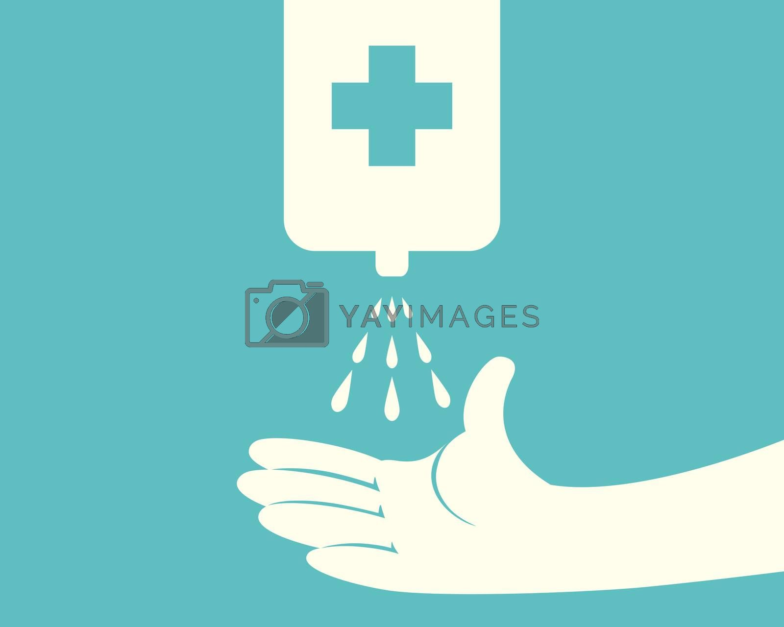Hands using automatic sanitizer liquid spray machine with cross symbol.hand soap gel.touchless dispenser.touch-free alcohol spray.Vector illustration flat design.infrared cleaner.anti germ concept.sign and icon template
