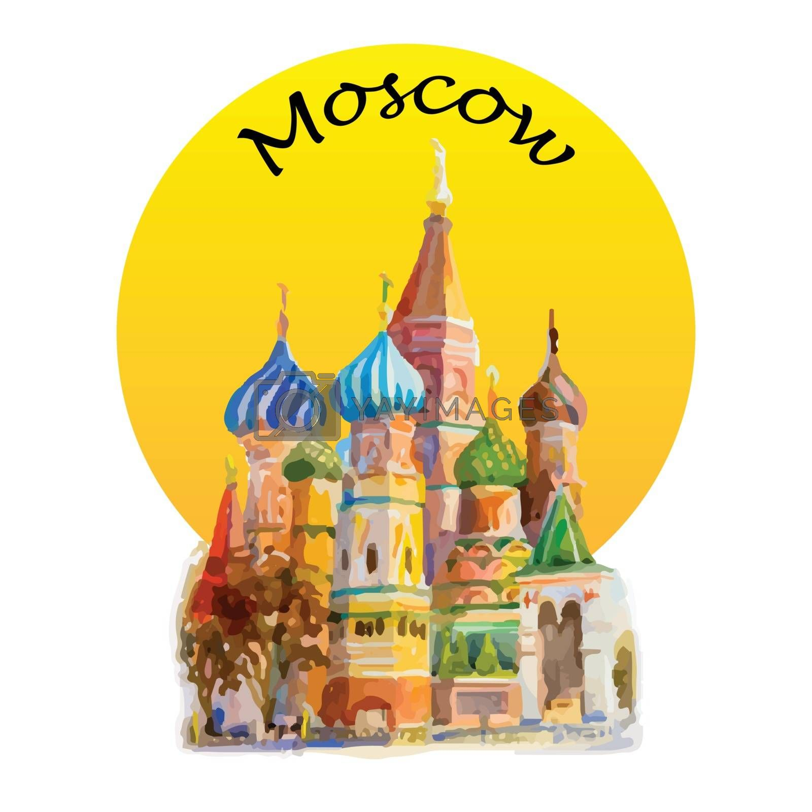 Modern art, symbol, Watercolor painting illustration. World famous landmark Cathedral of St. Basil in the Red Square Russia. the main tourist attraction in Moscow, Russia. Vector illustration