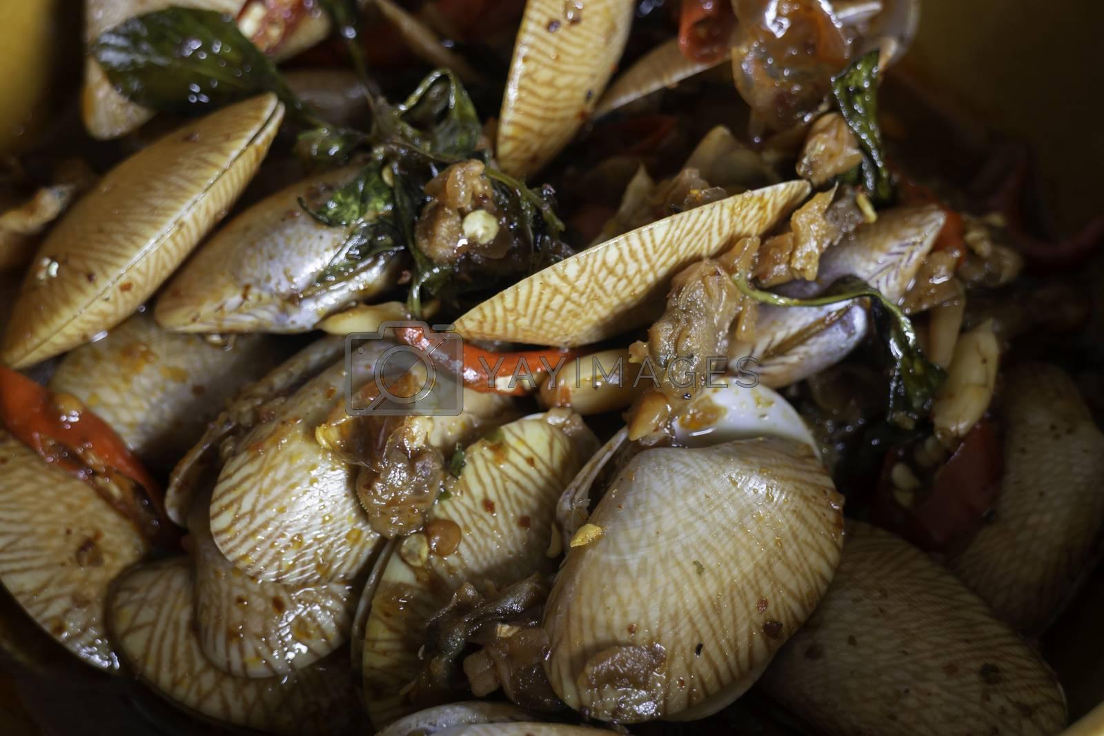 Stir fried clams with thai sweet basil,stock photo