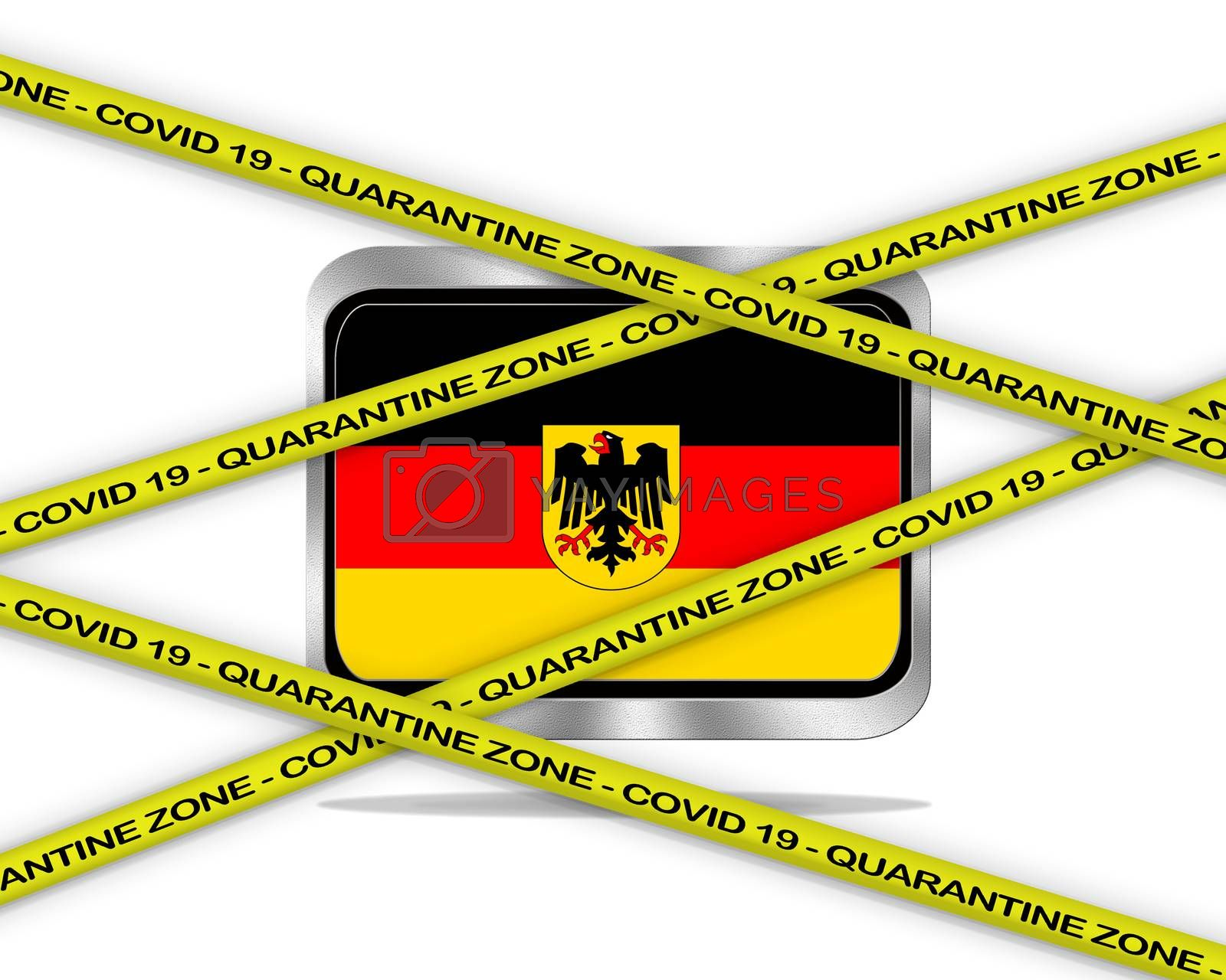 COVID-19 warning yellow ribbon written with: Quarantine zone Cover 19 on Germany flag illustration. Coronavirus danger area, quarantined country.