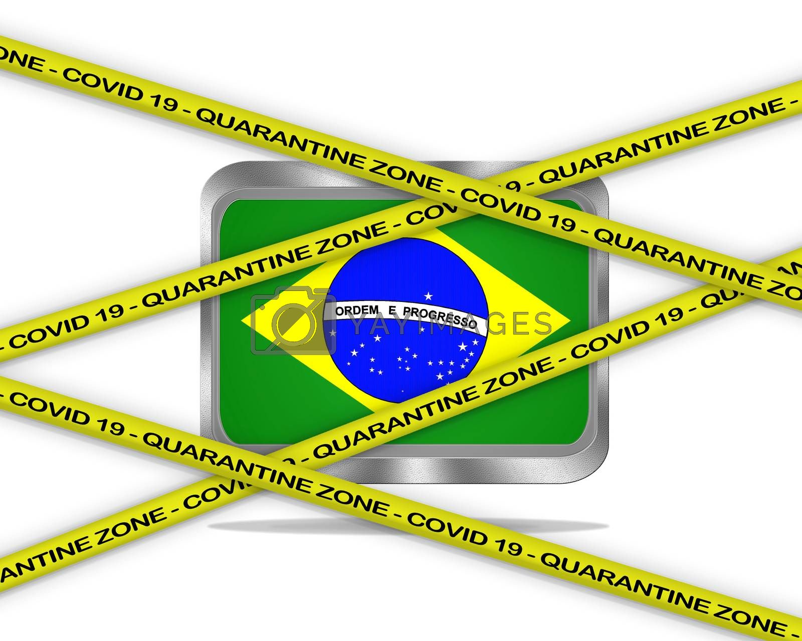 COVID-19 warning yellow ribbon written with: Quarantine zone Cover 19 on Brazil flag illustration. Coronavirus danger area, quarantined country.