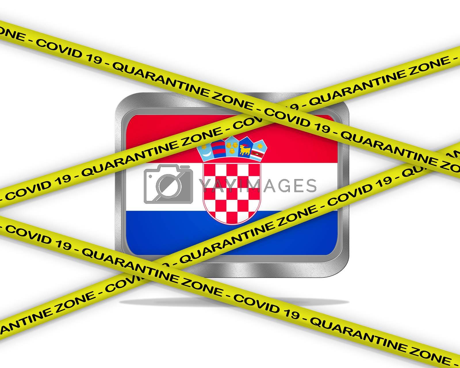 COVID-19 warning yellow ribbon written with: Quarantine zone Cover 19 on Croatia flag illustration. Coronavirus danger area, quarantined country.