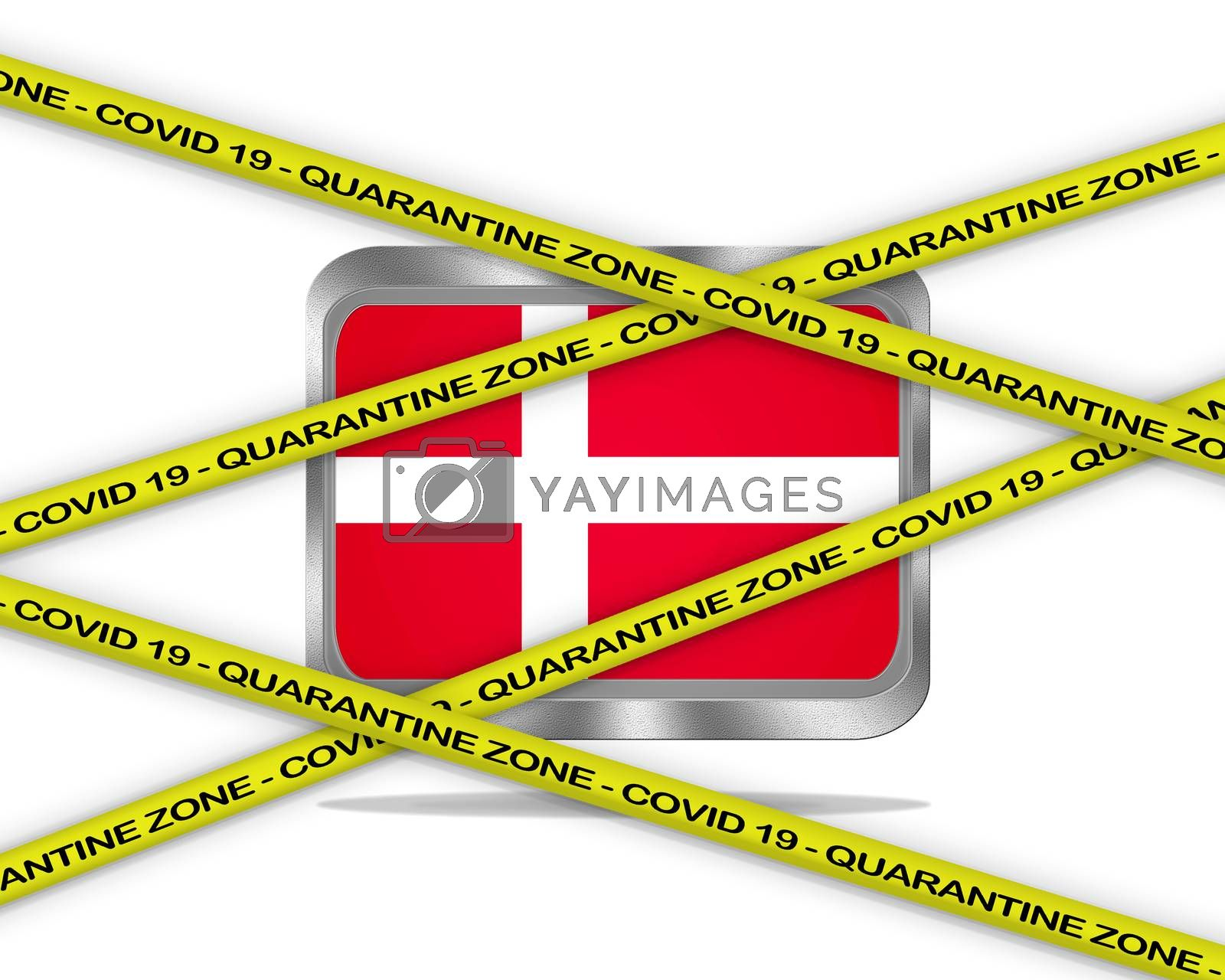 COVID-19 warning yellow ribbon written with: Quarantine zone Cover 19 on Denmark flag illustration. Coronavirus danger area, quarantined country.