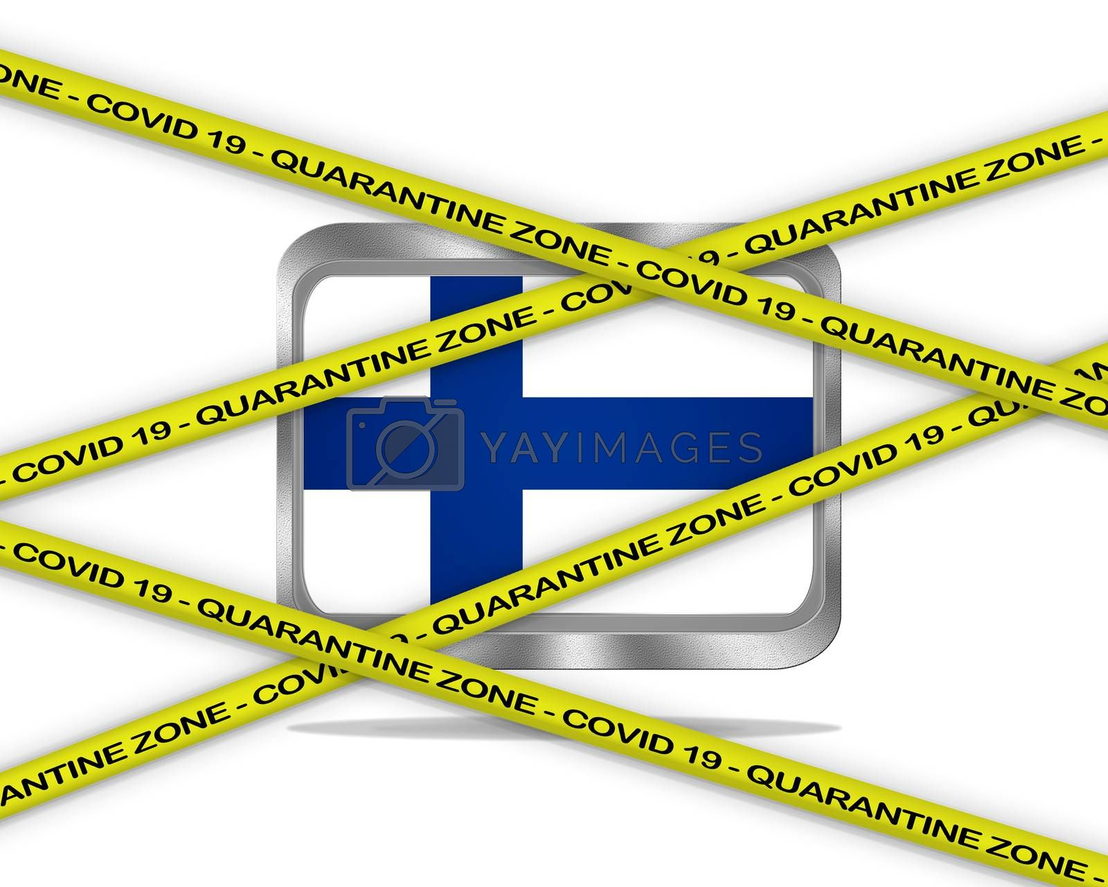 COVID-19 warning yellow ribbon written with: Quarantine zone Cover 19 on Finland flag illustration. Coronavirus danger area, quarantined country.