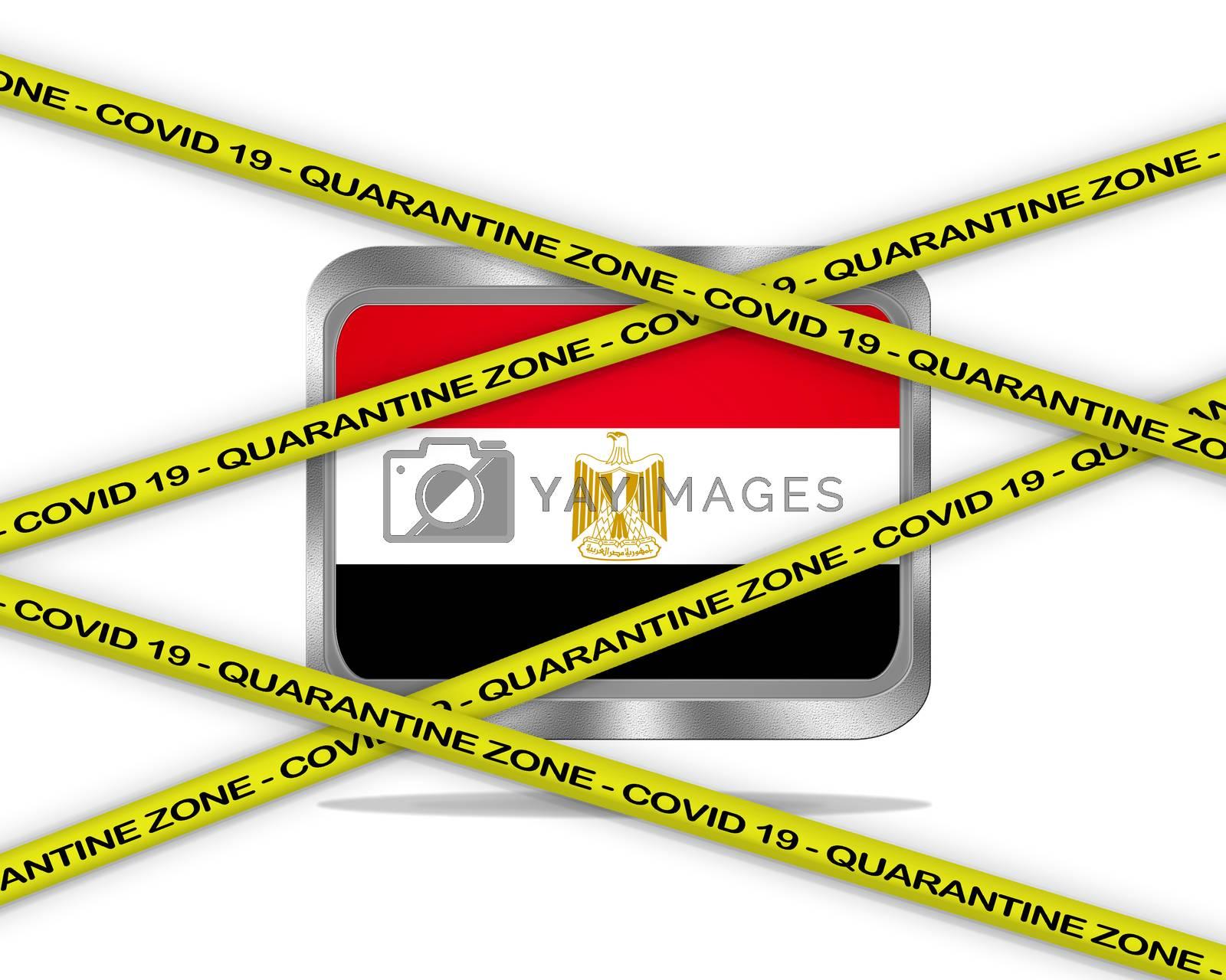 COVID-19 warning yellow ribbon written with: Quarantine zone Cover 19 on Egypt flag illustration. Coronavirus danger area, quarantined country.